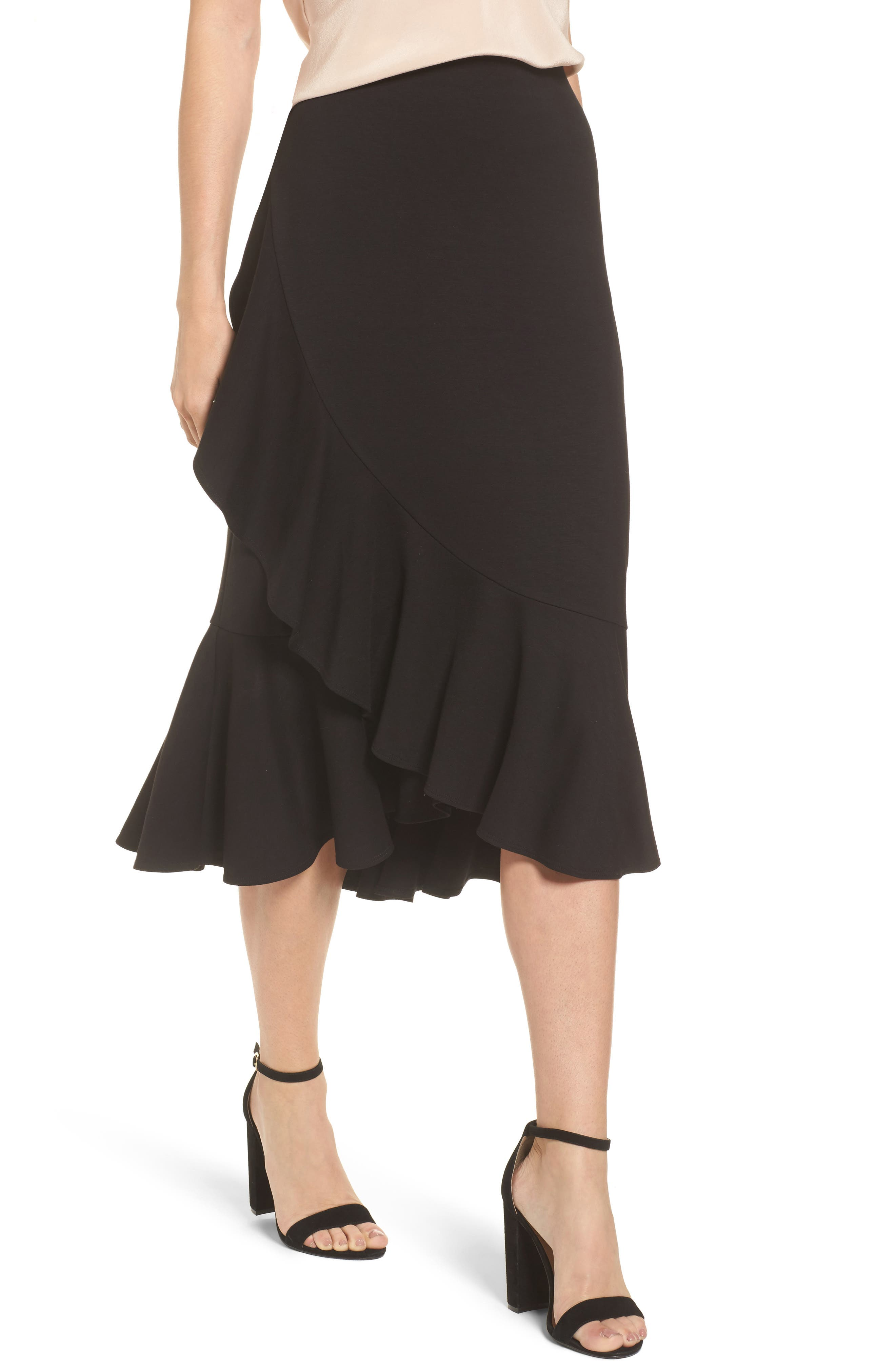 Halogen® Ruffle Ponte Midi Skirt
