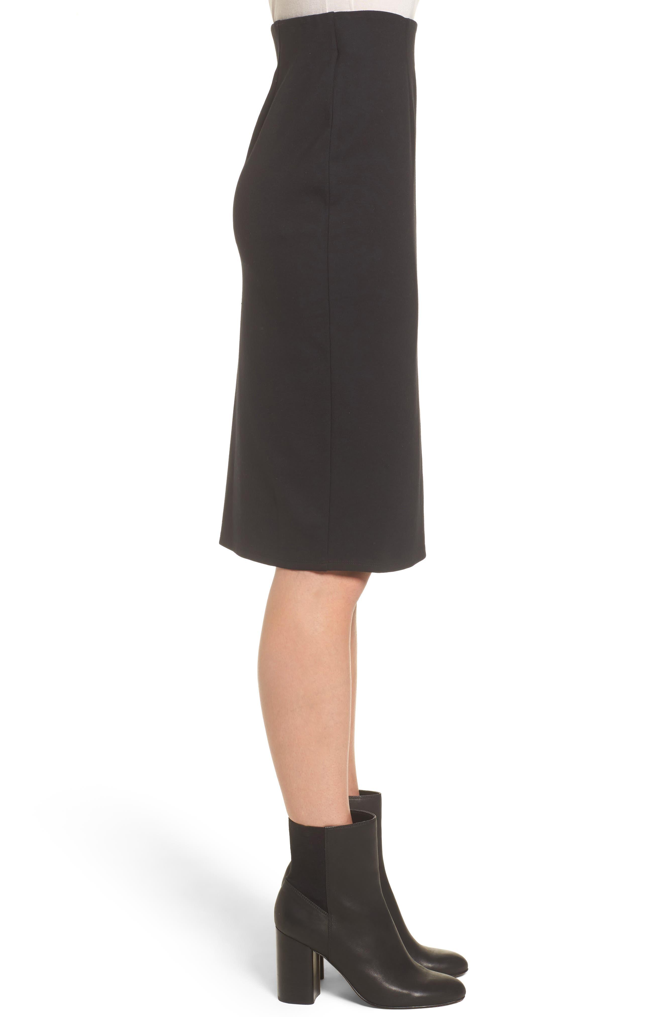 High Waist Knit Skirt,                             Alternate thumbnail 3, color,                             Black