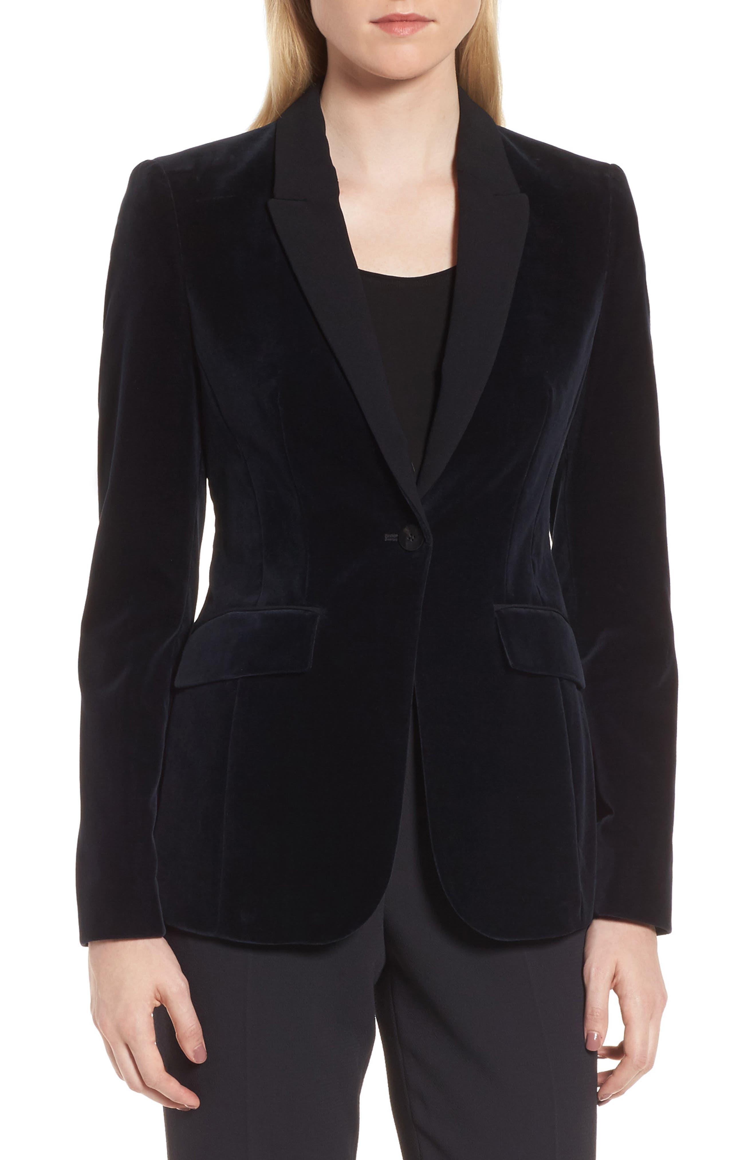 Jeronala Velvet Tuxedo Jacket,                         Main,                         color, Navy