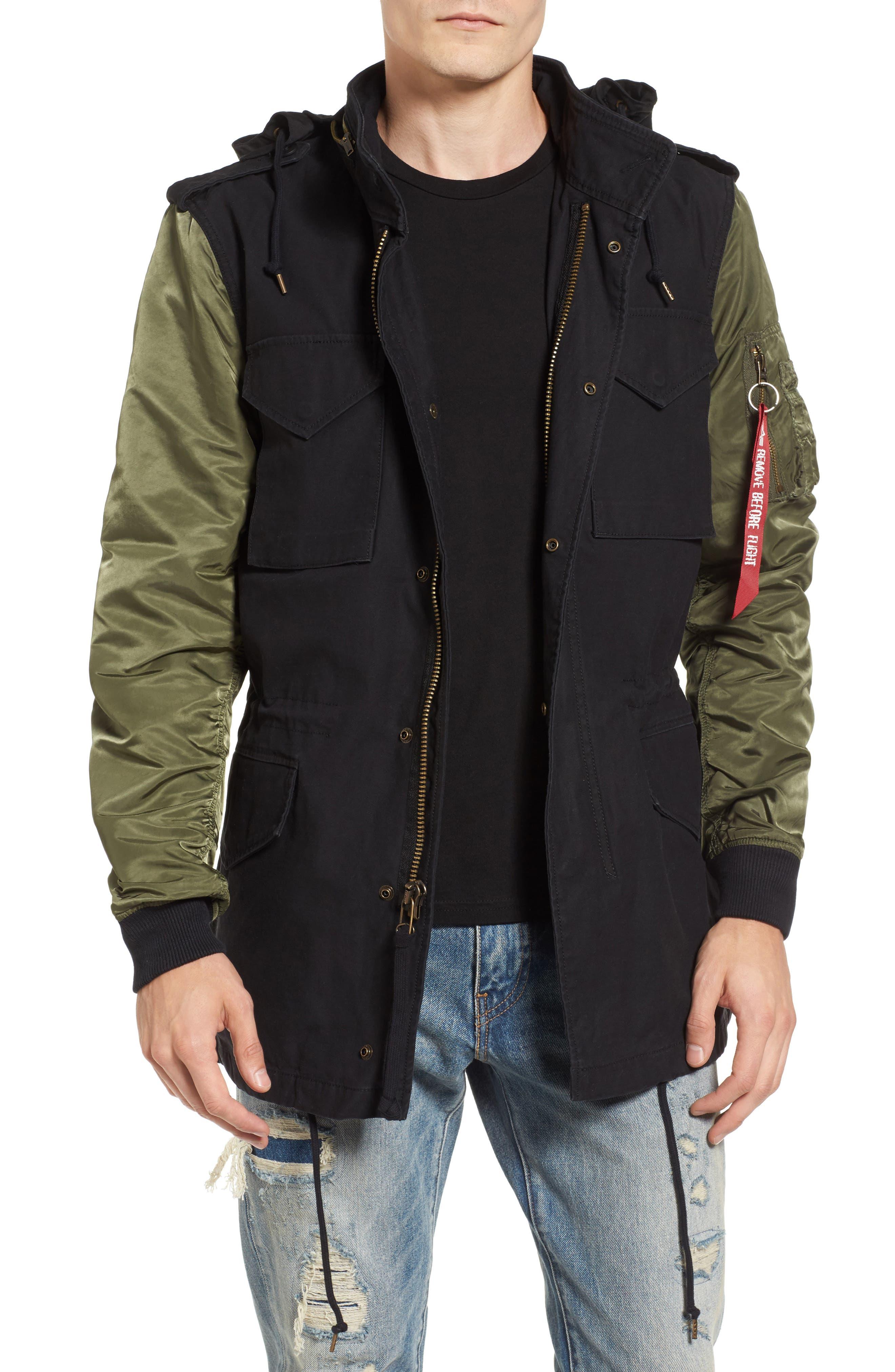 Fusion Field Coat,                             Main thumbnail 1, color,                             Black/ Sage