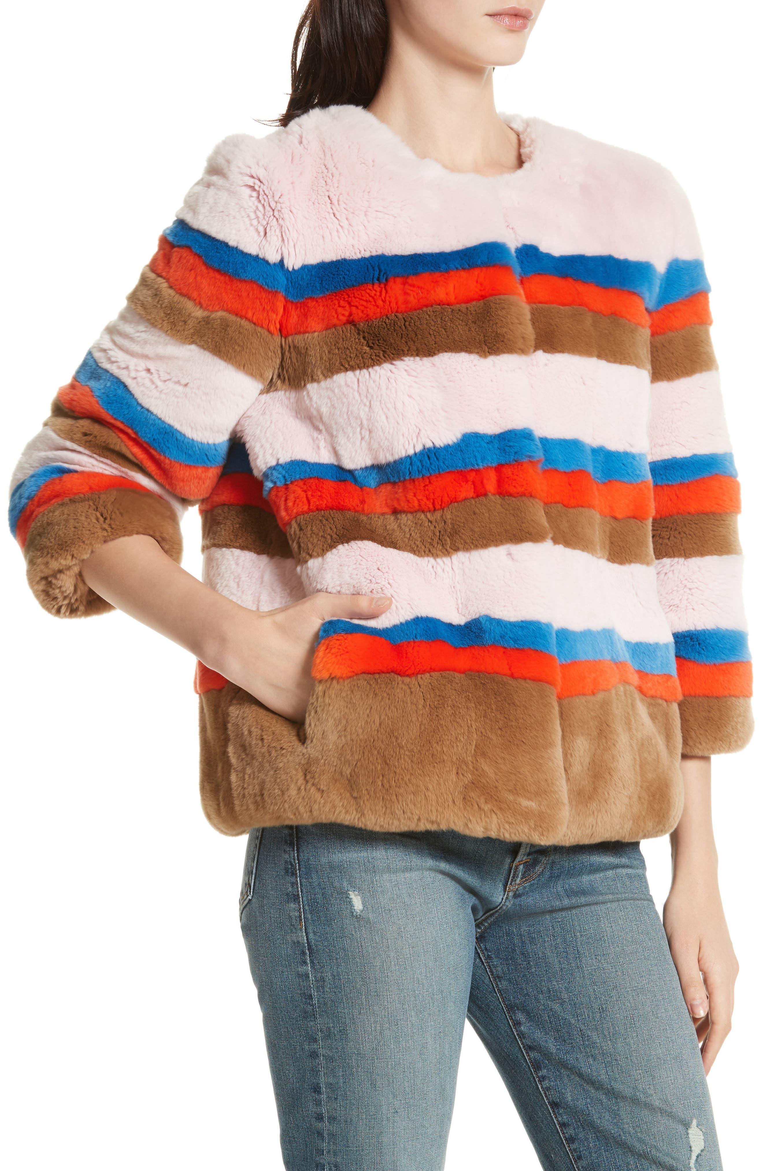 The Betty Genuine Rabbit Fur Jacket,                             Alternate thumbnail 3, color,                             Pink Vicuna Poppy Royal