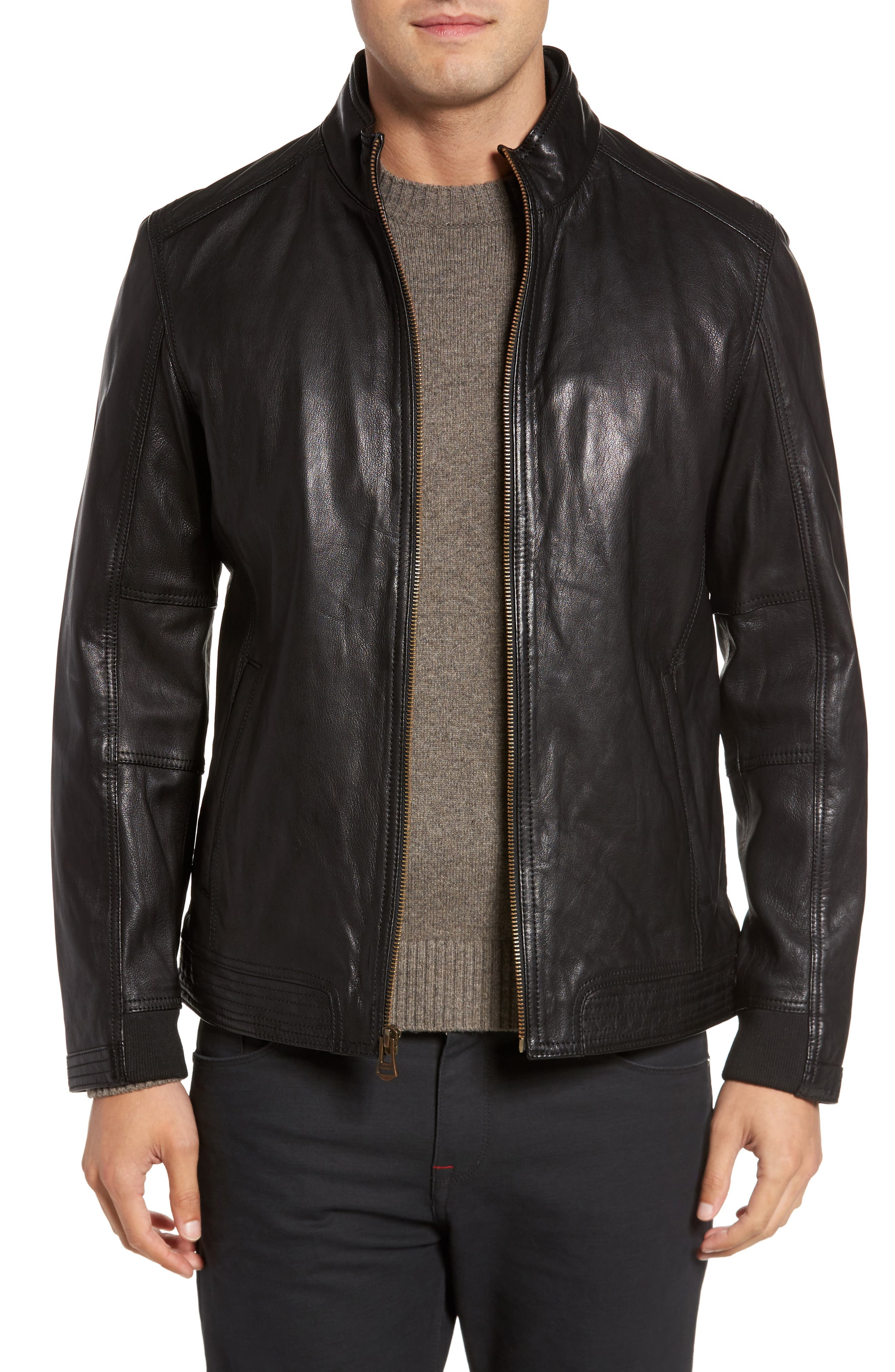 Main Image - Cole Haan Washed Leather Jacket