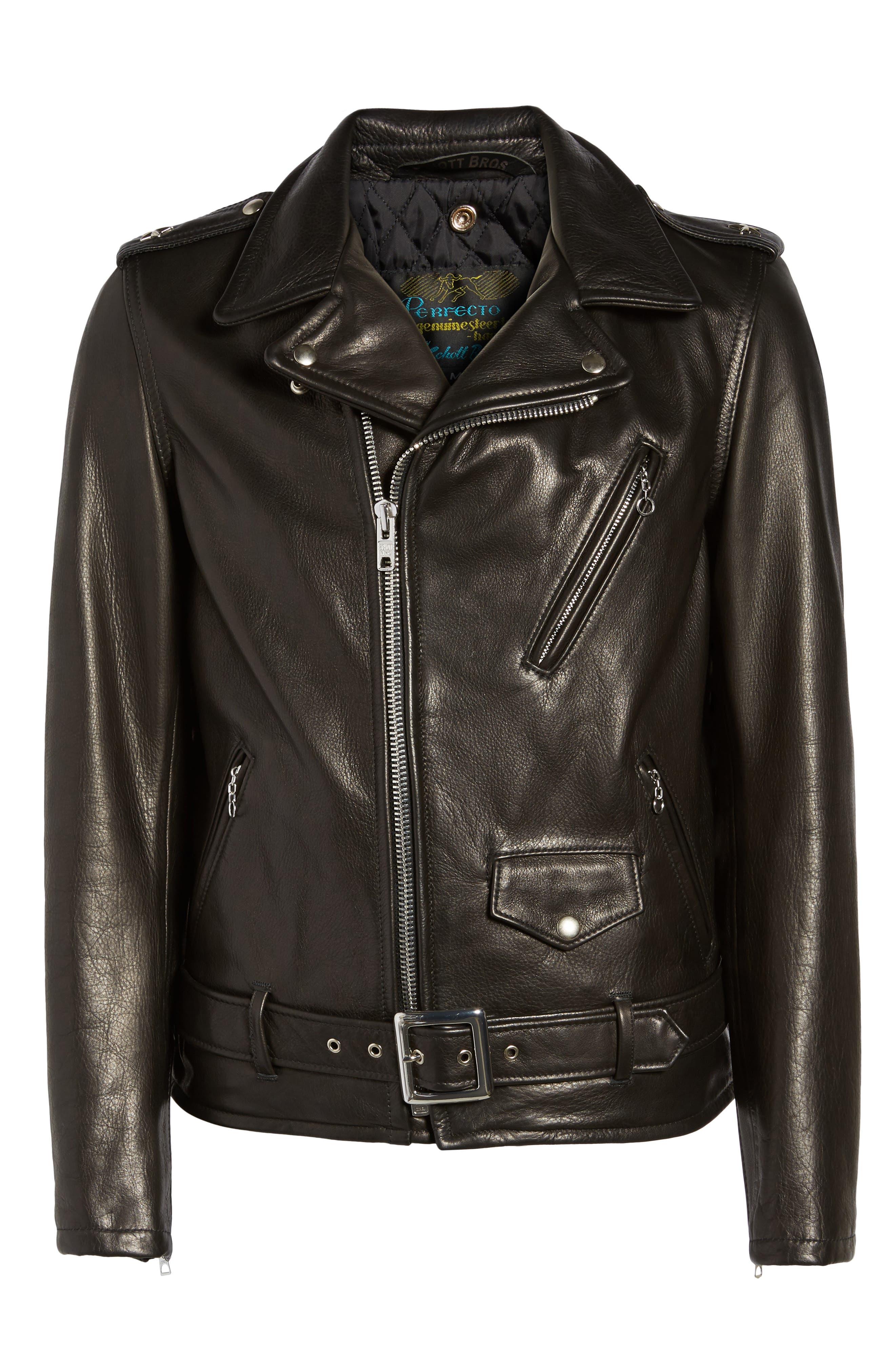 Alternate Image 10  - Schott NYC Perfecto Slim Fit Waxy Leather Moto Jacket