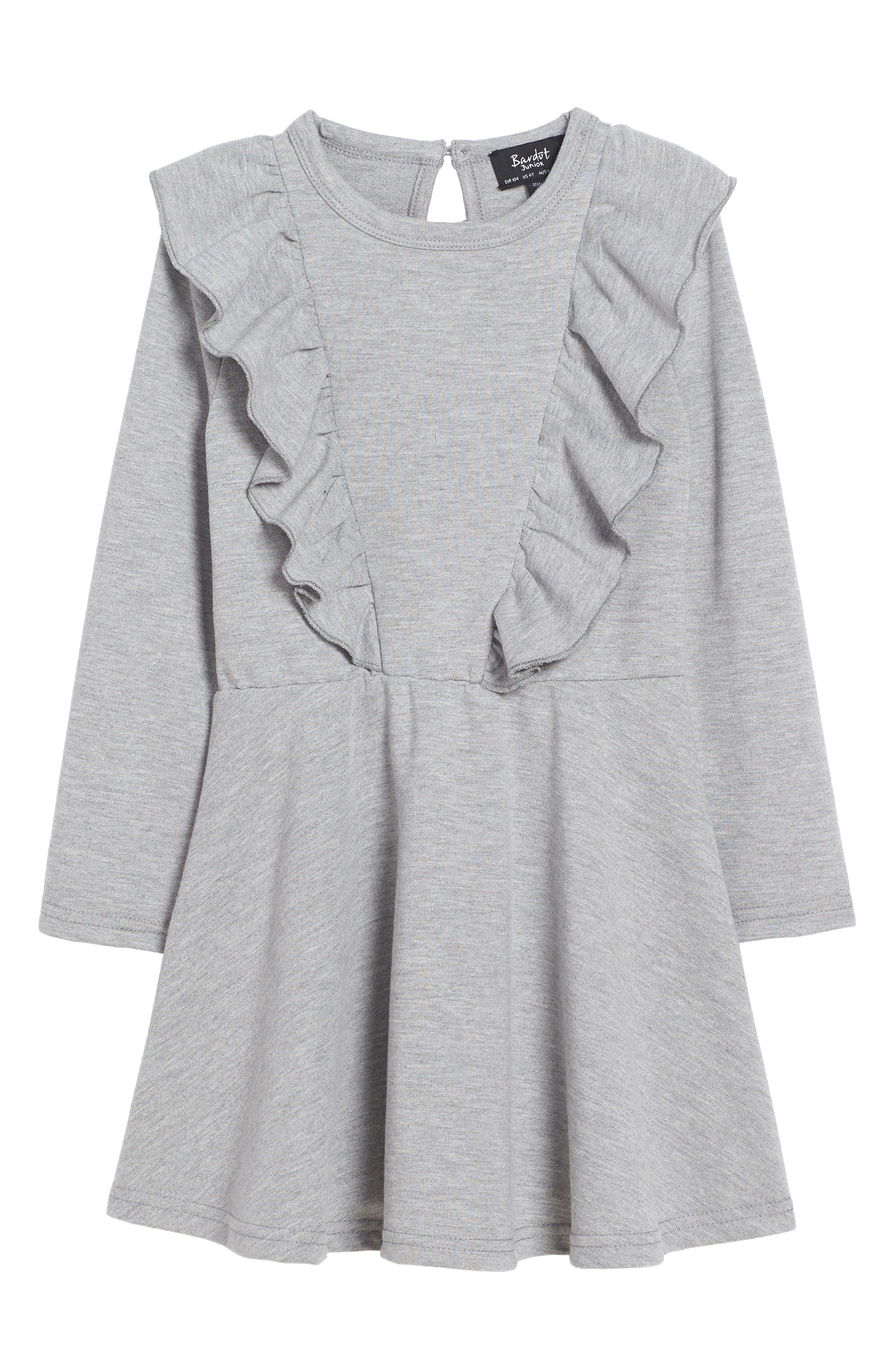 Frill of It Ruffle Dress,                             Main thumbnail 1, color,                             Grey Marble