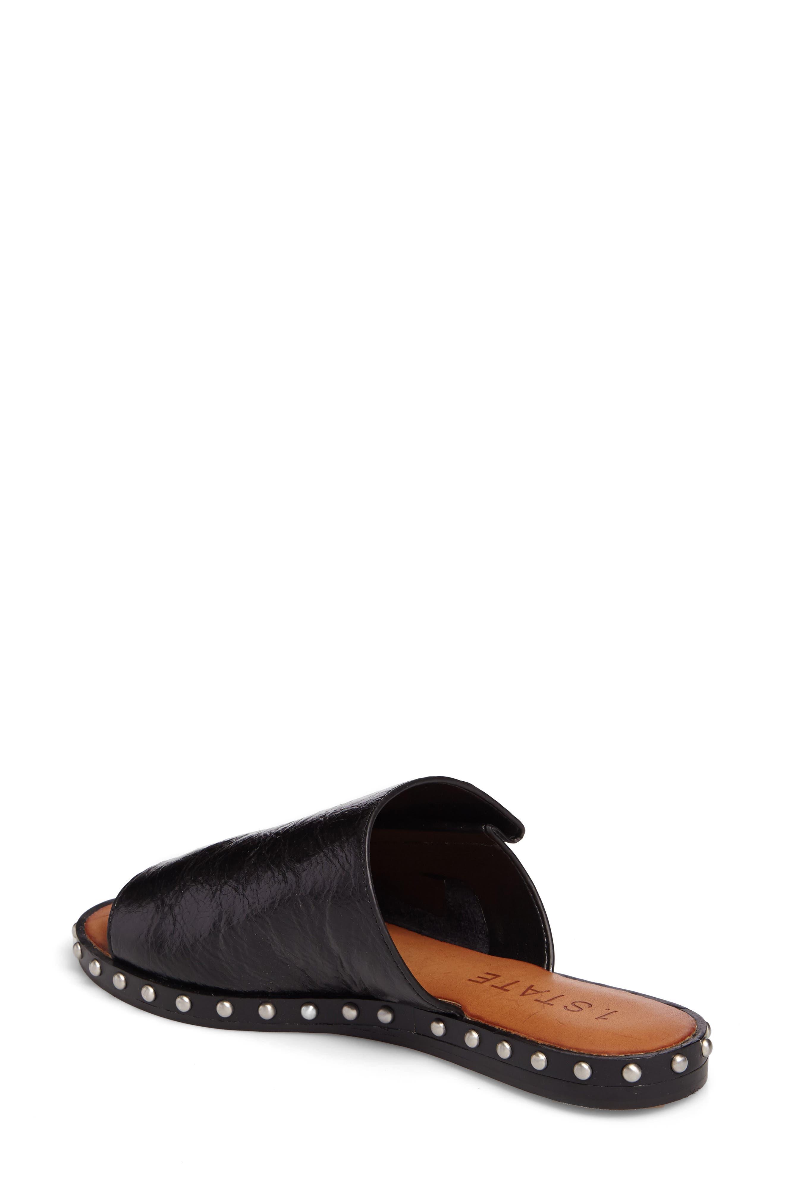 Cadwyn Slide Sandal,                             Alternate thumbnail 2, color,                             Black Leather