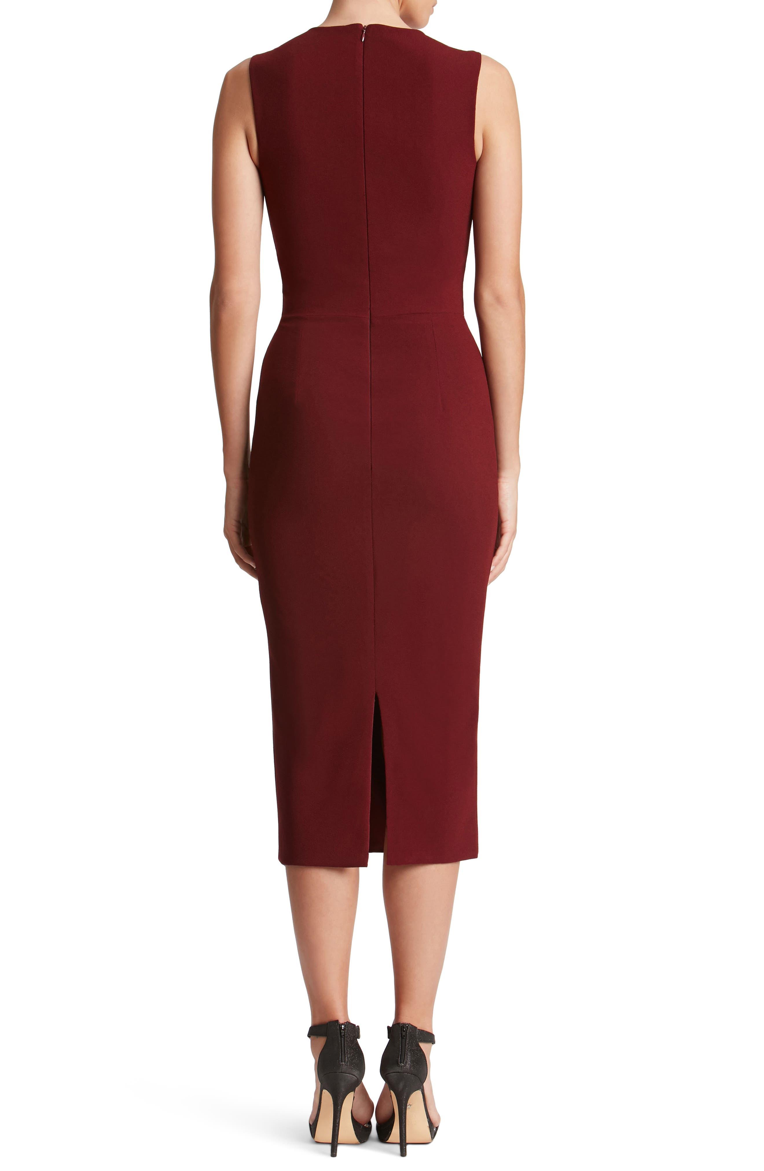 Helen Plunge Neck Midi Dress,                             Alternate thumbnail 2, color,                             Burgundy
