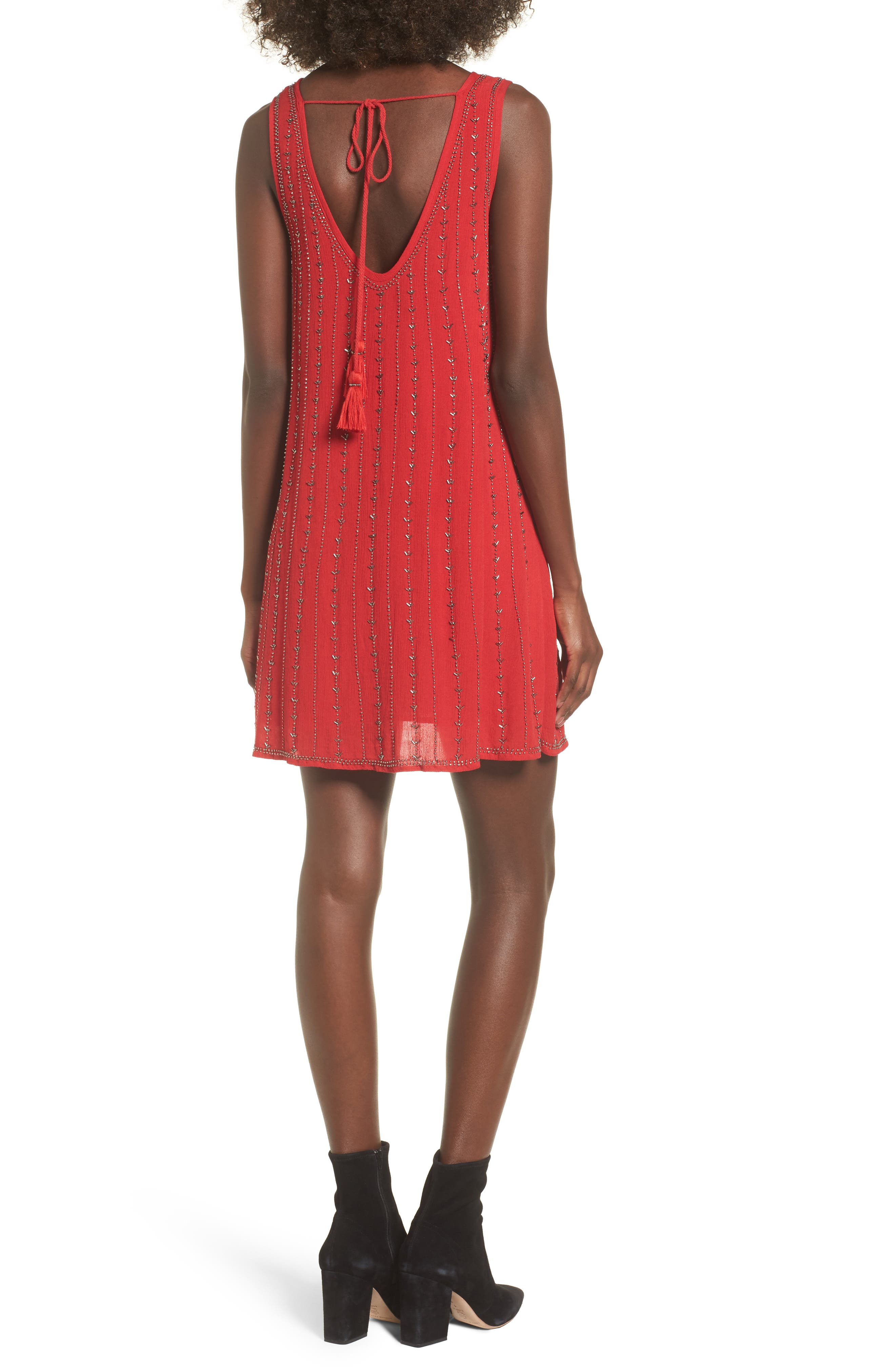 Rouge Beaded Swing Dress,                             Alternate thumbnail 2, color,                             Red