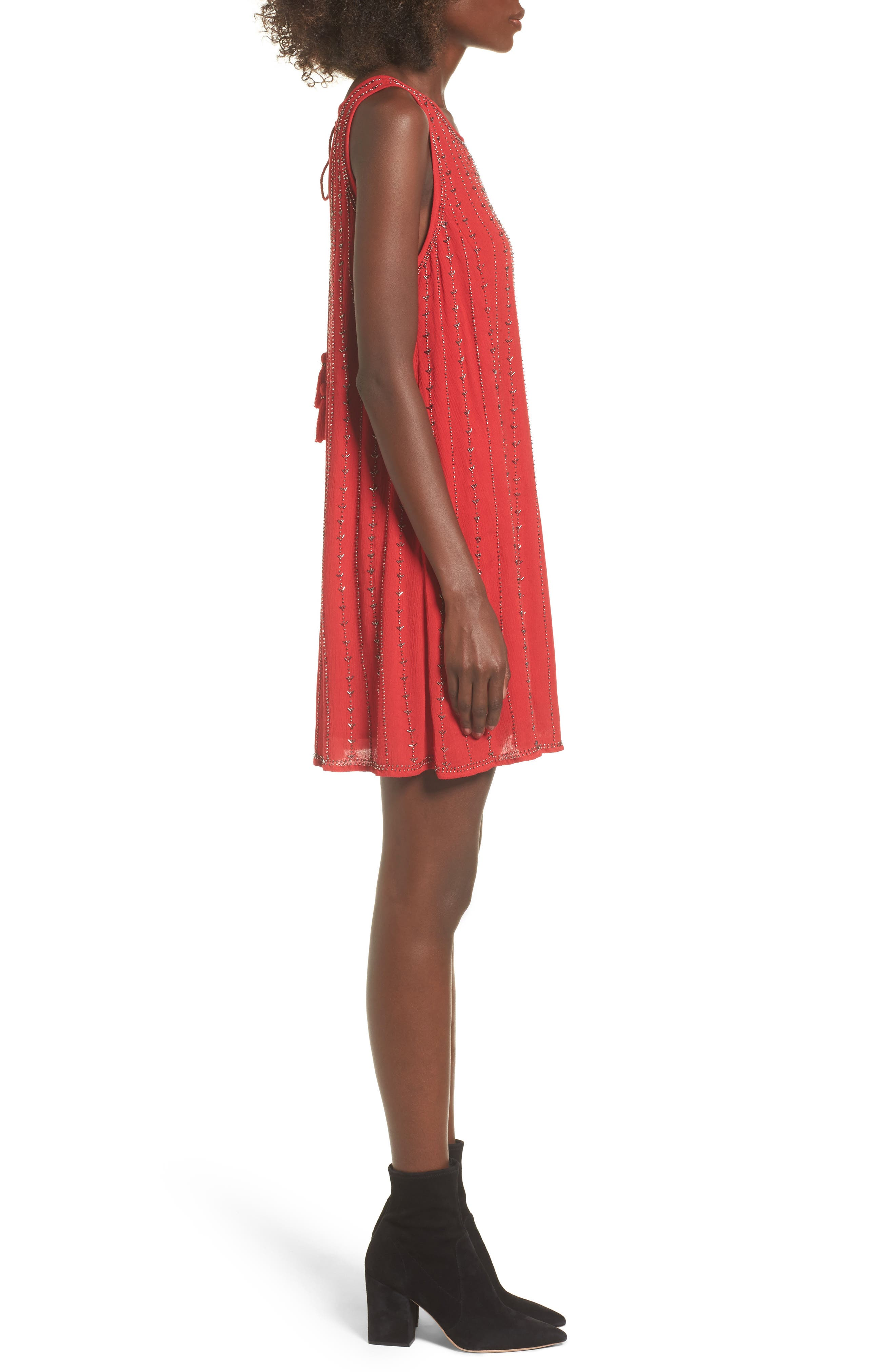 Rouge Beaded Swing Dress,                             Alternate thumbnail 3, color,                             Red