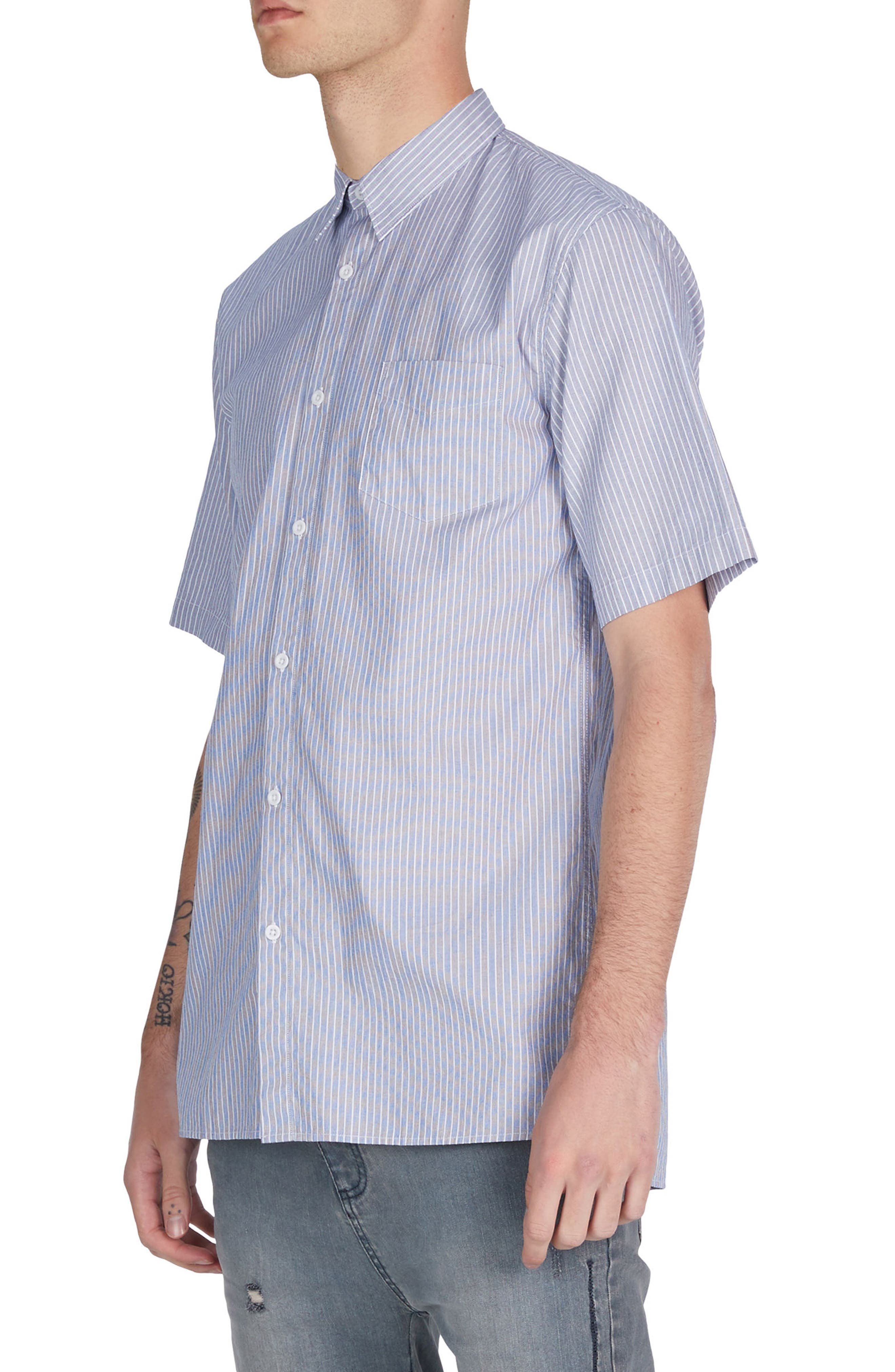 Stripe Box Shirt,                             Alternate thumbnail 4, color,                             Blue/ White