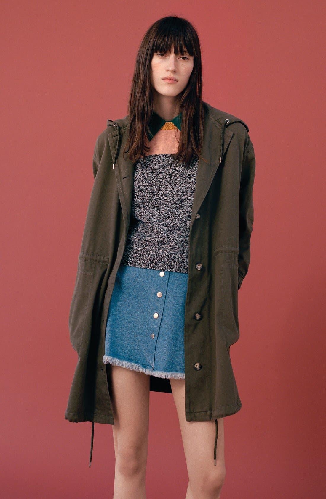 Alternate Image 6  - Topshop Moto Snap Front Denim Skirt (Brit Pop-In)