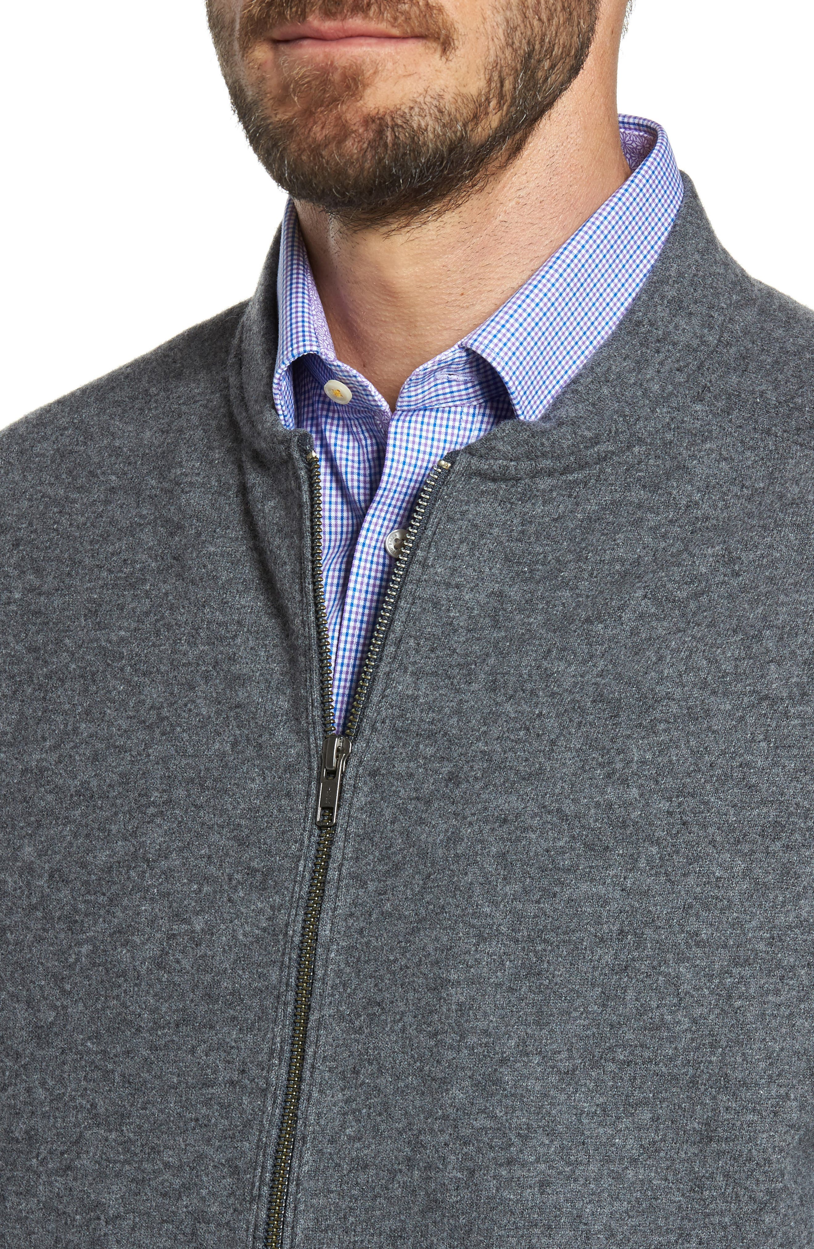 Wool Blend Fleece Bomber Jacket,                             Alternate thumbnail 4, color,                             Grey Charcoal