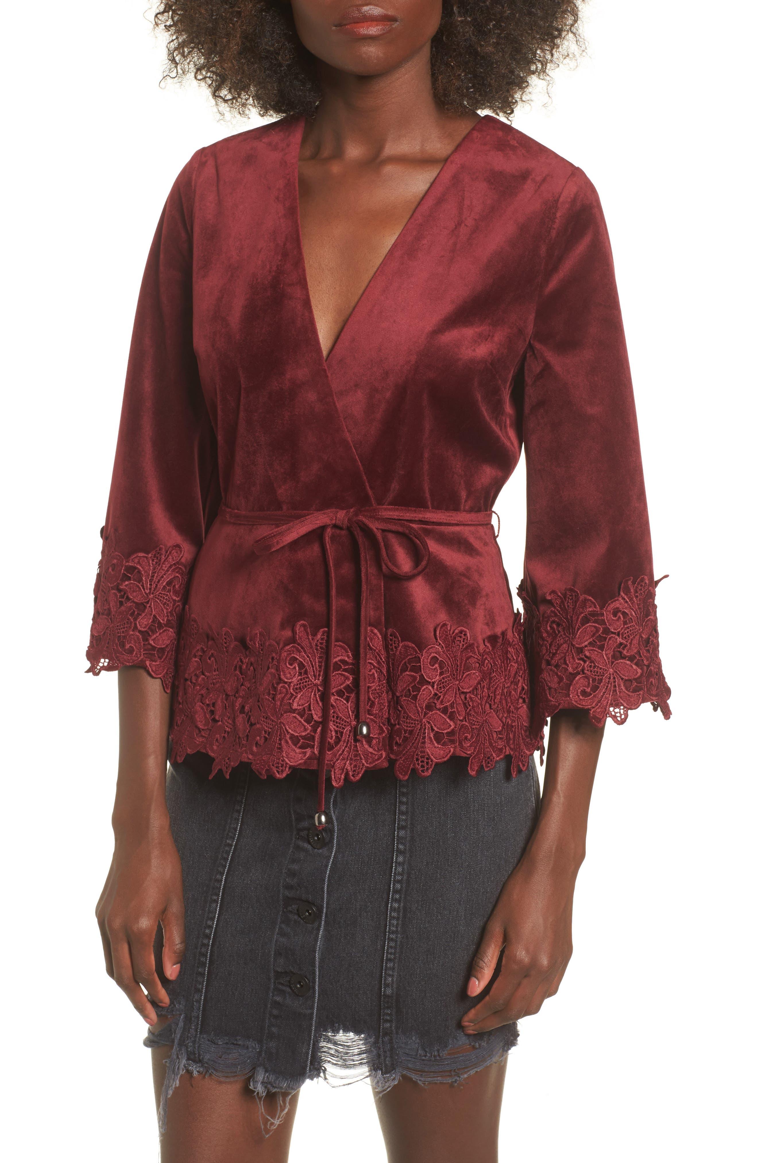 Lace Hem Velvet Wrap Top,                         Main,                         color, Wine
