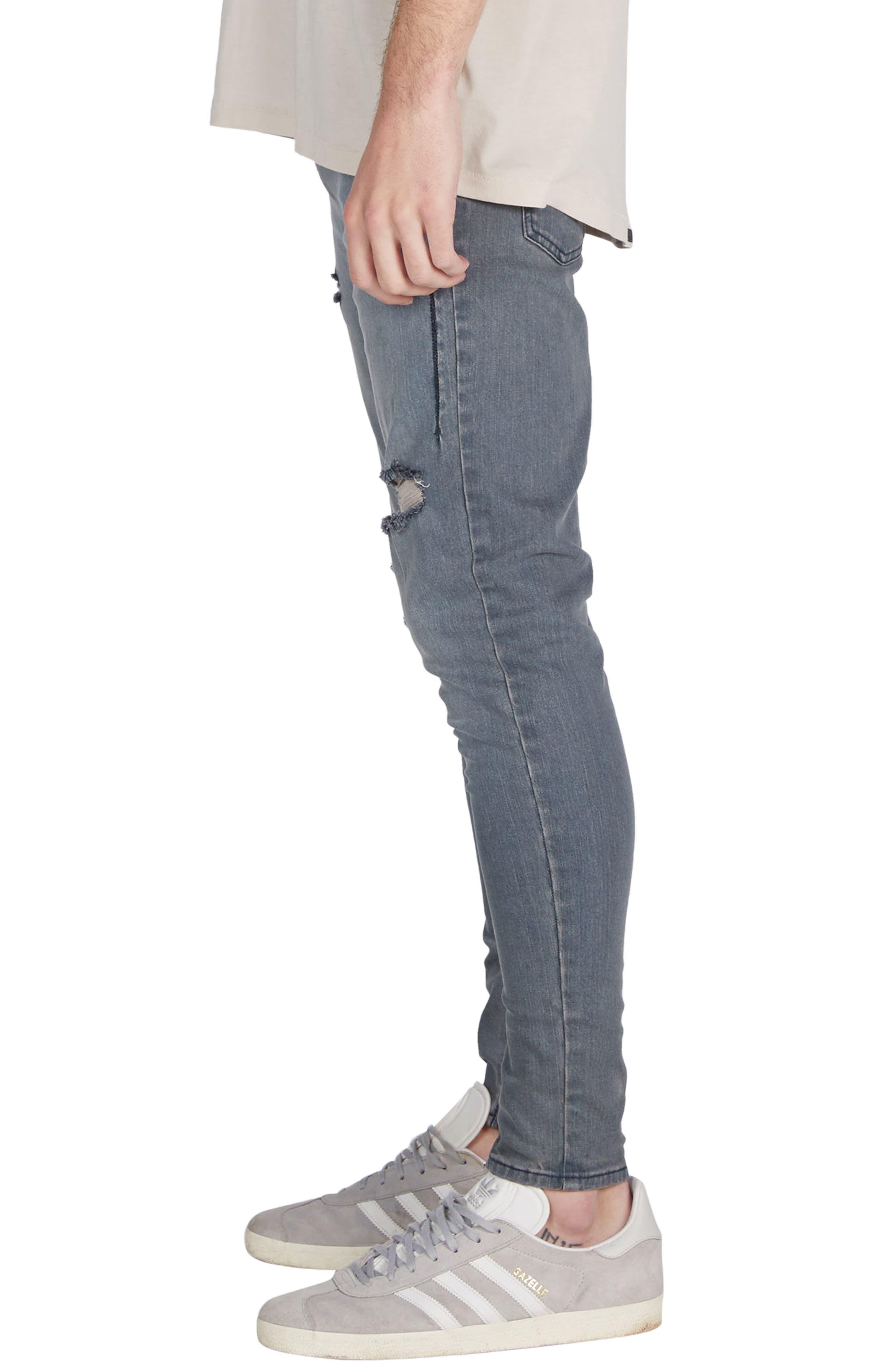 Sharpshot Slouchy Skinny Fit Denim Pants,                             Alternate thumbnail 3, color,                             Blue Grey
