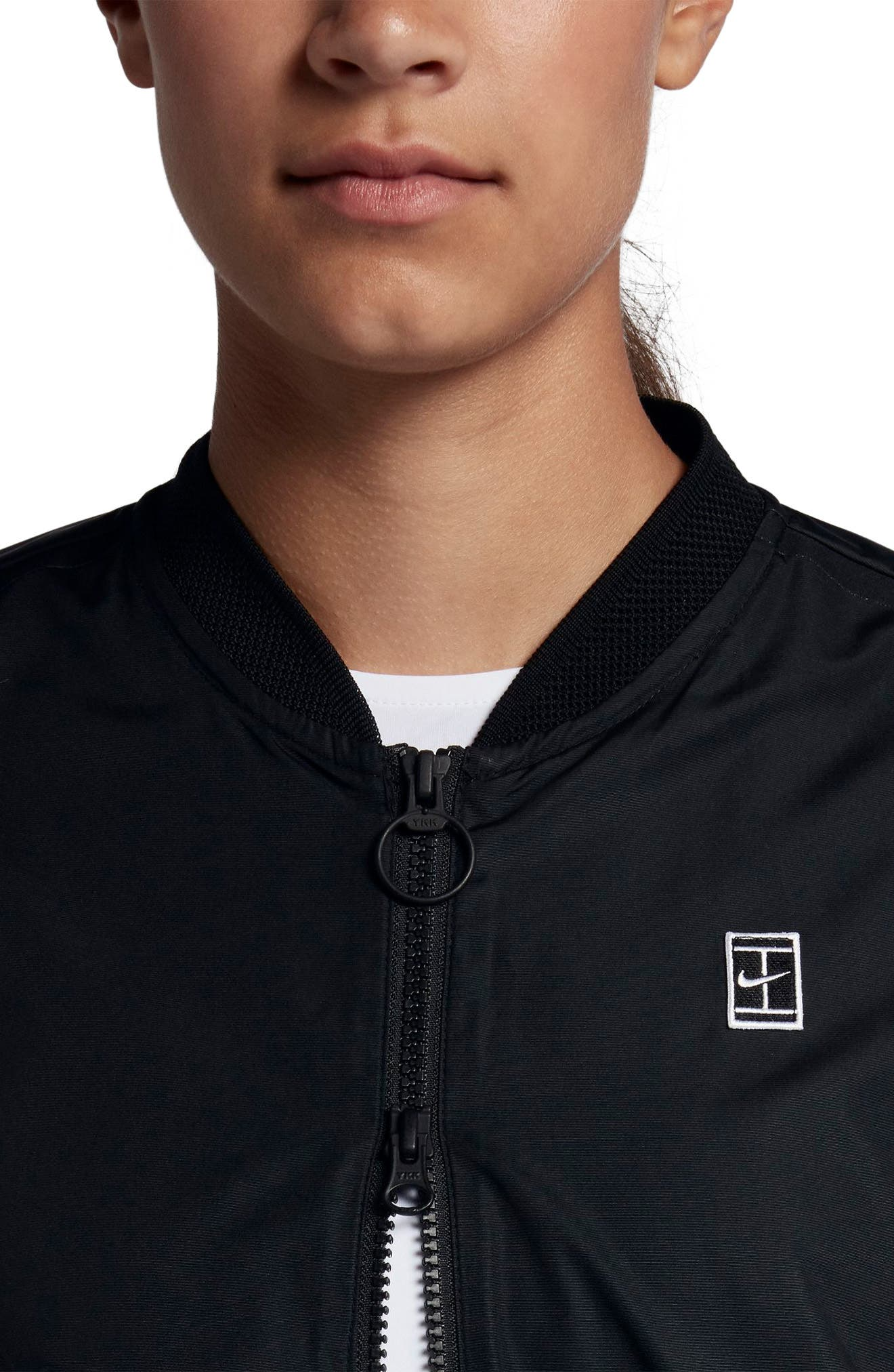 Court Water-Resistant Bomber Jacket,                             Alternate thumbnail 3, color,                             Black/ Summit White/ White
