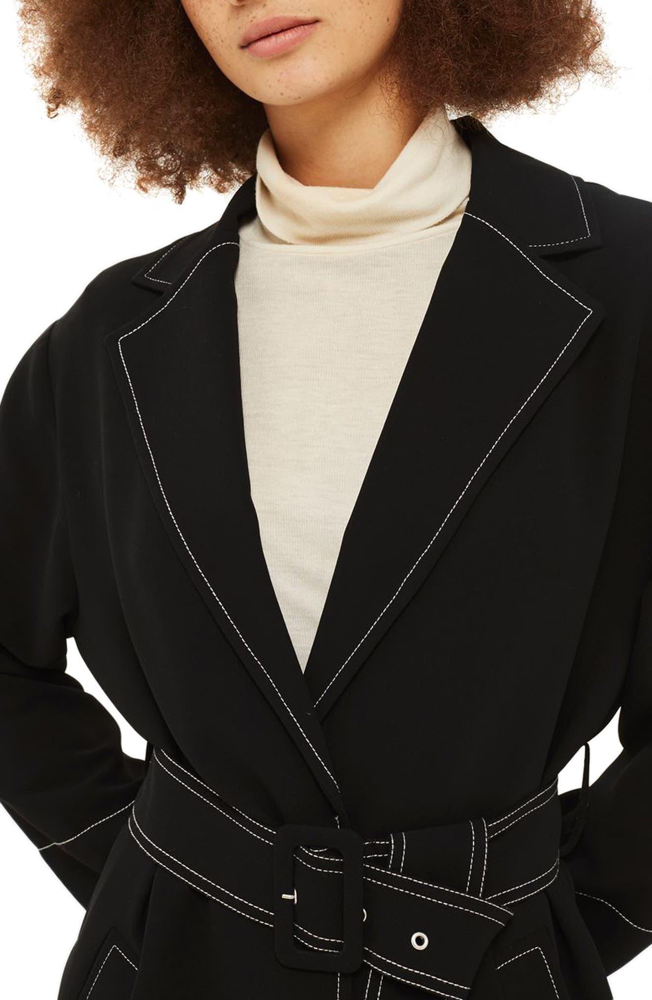 Contrast Stitch Duster Coat,                             Alternate thumbnail 4, color,                             Black