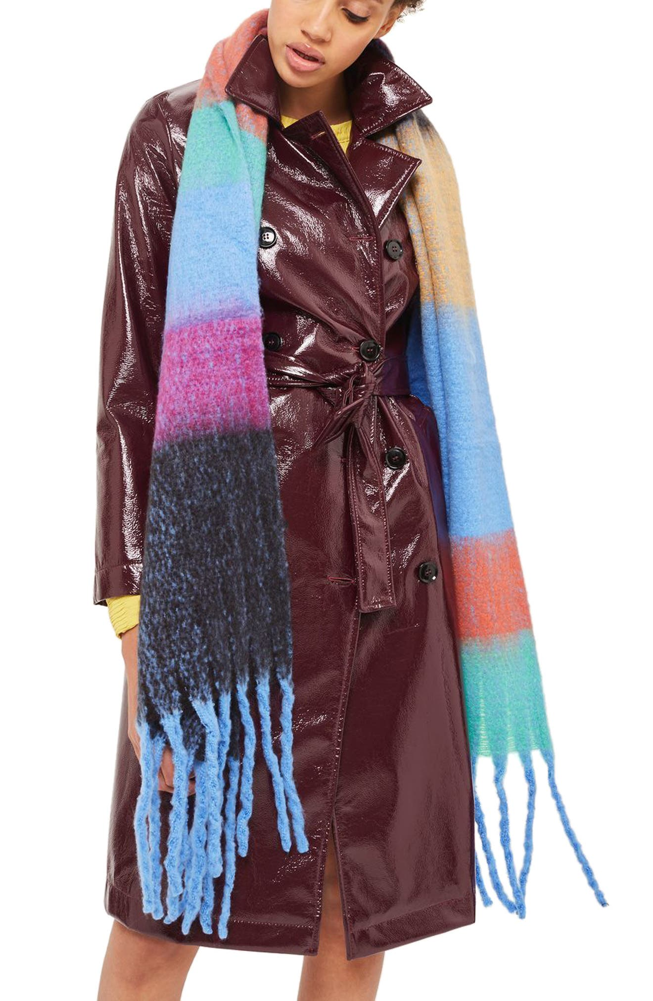 Brushed Pop Stripe Scarf,                         Main,                         color, Blue Multi