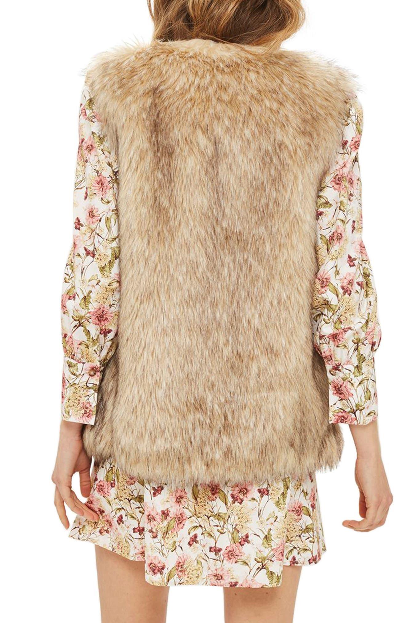 Faux Fur Vest,                             Alternate thumbnail 3, color,                             Brown