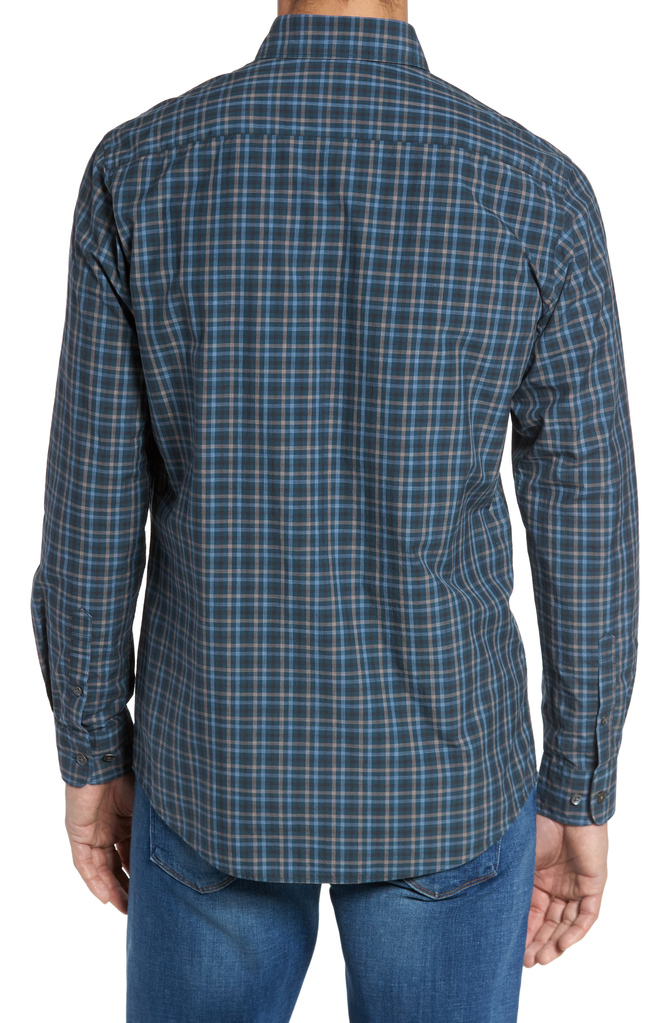 Rock and Pillar Check Sport Shirt,                             Alternate thumbnail 2, color,                             Forest