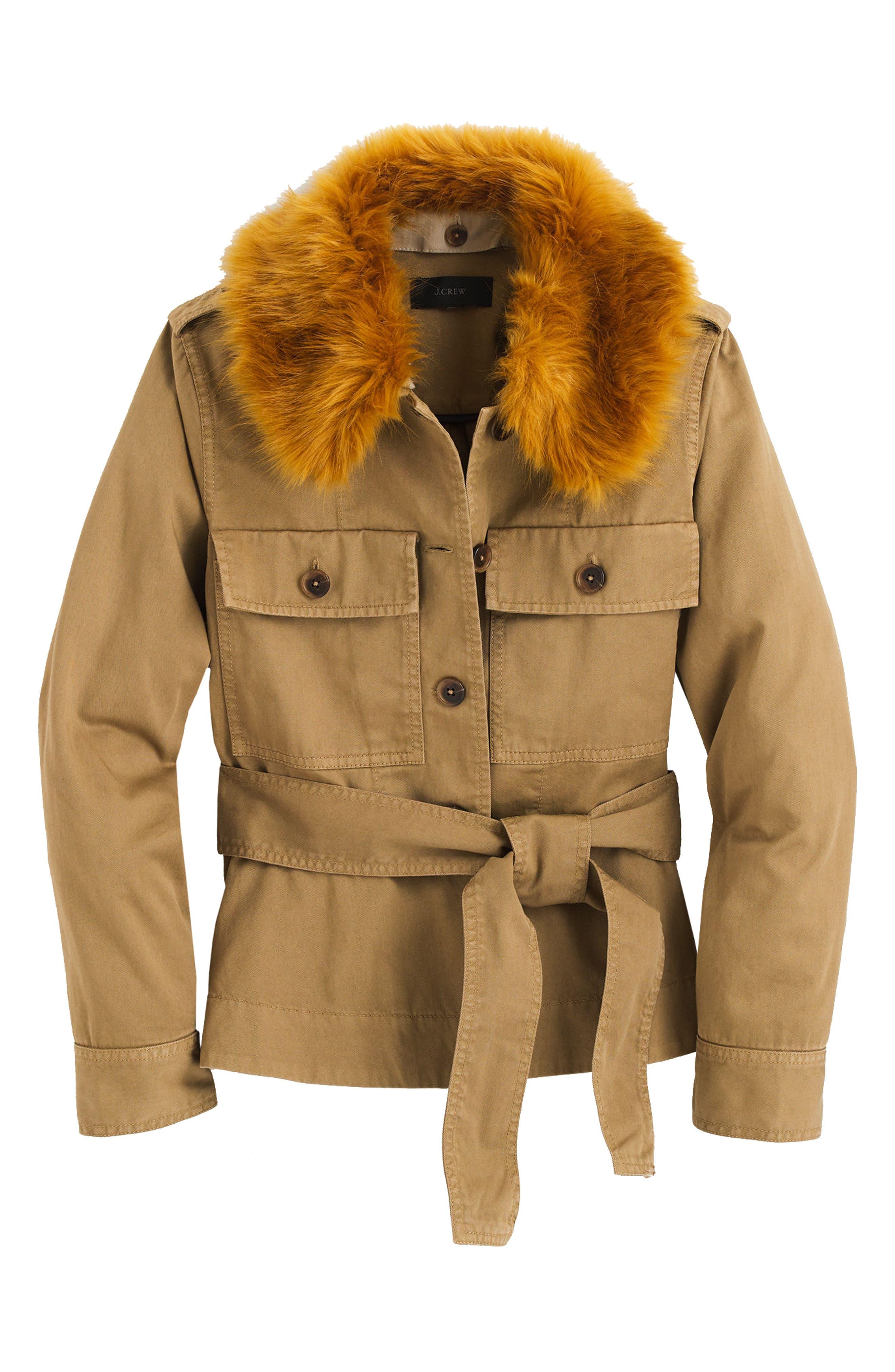 Alternate Image 4  - J.Crew Peplum Chino Faux Fur Collar Jacket