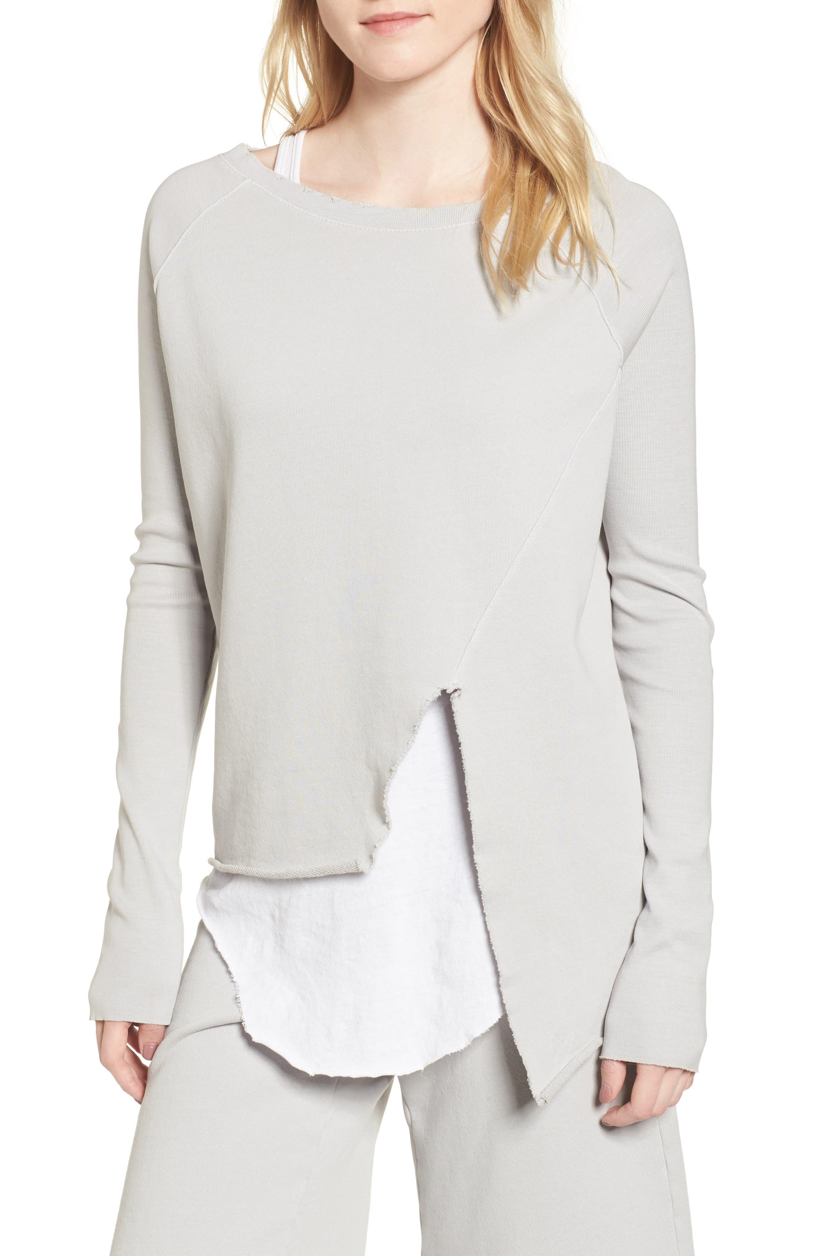 Asymmetric Sweatshirt,                             Main thumbnail 1, color,                             Grey Area