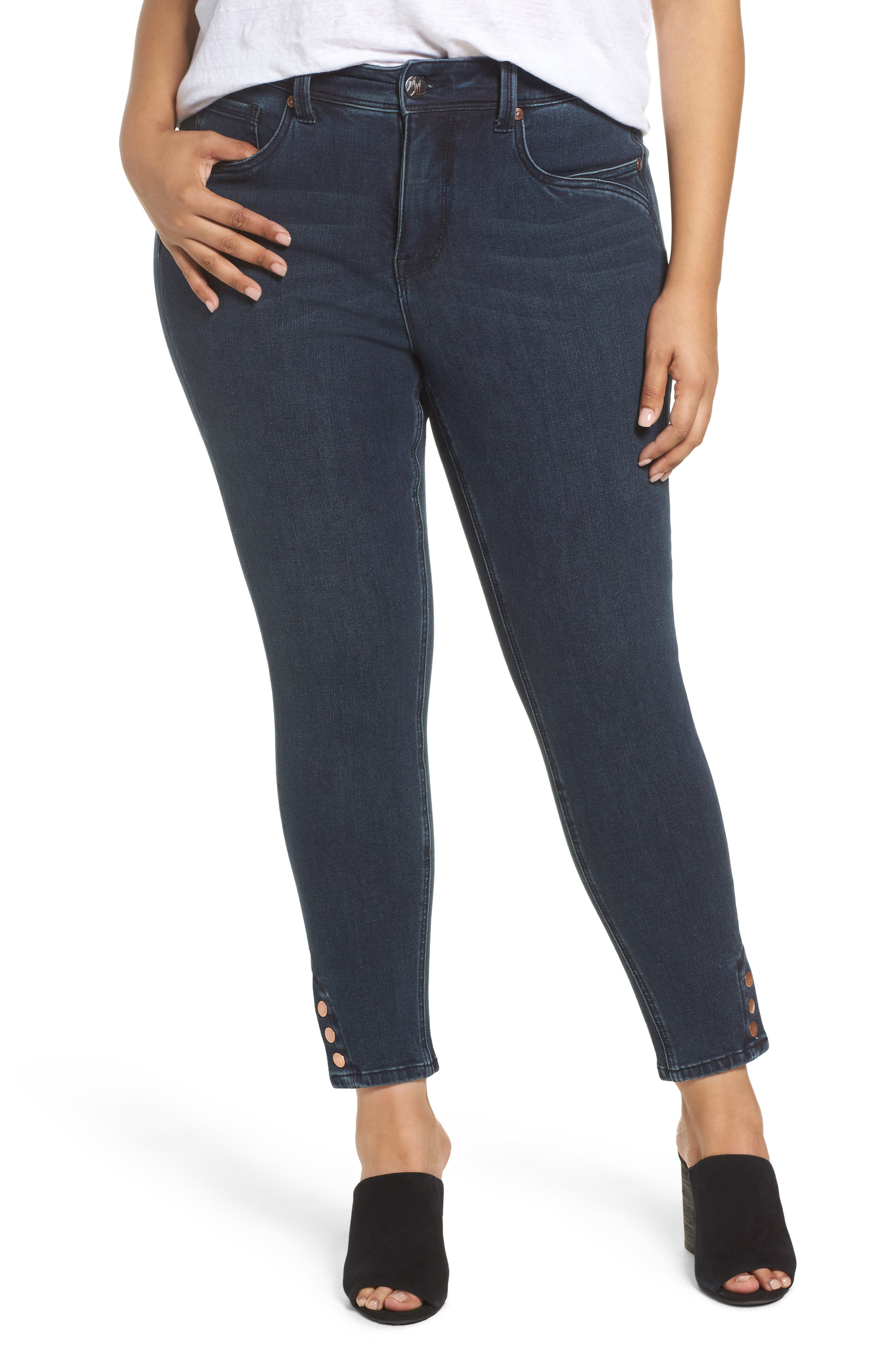 Alternate Image 1 Selected - Melissa McCarthy Seven7 Snap Hem Pencil Jeans (Sasha) (Plus Size)