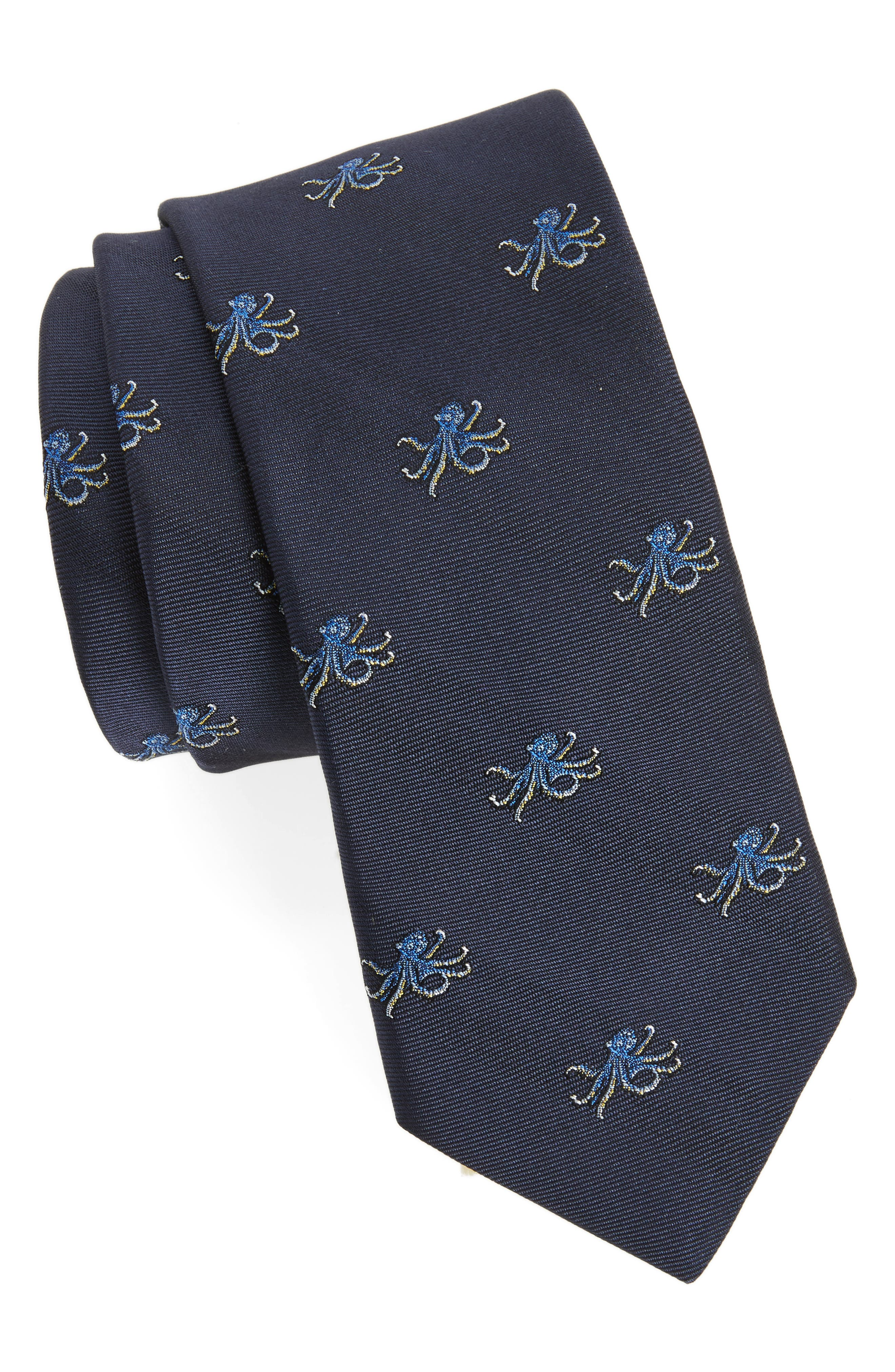 Octopus Silk Tie,                         Main,                         color, Navy