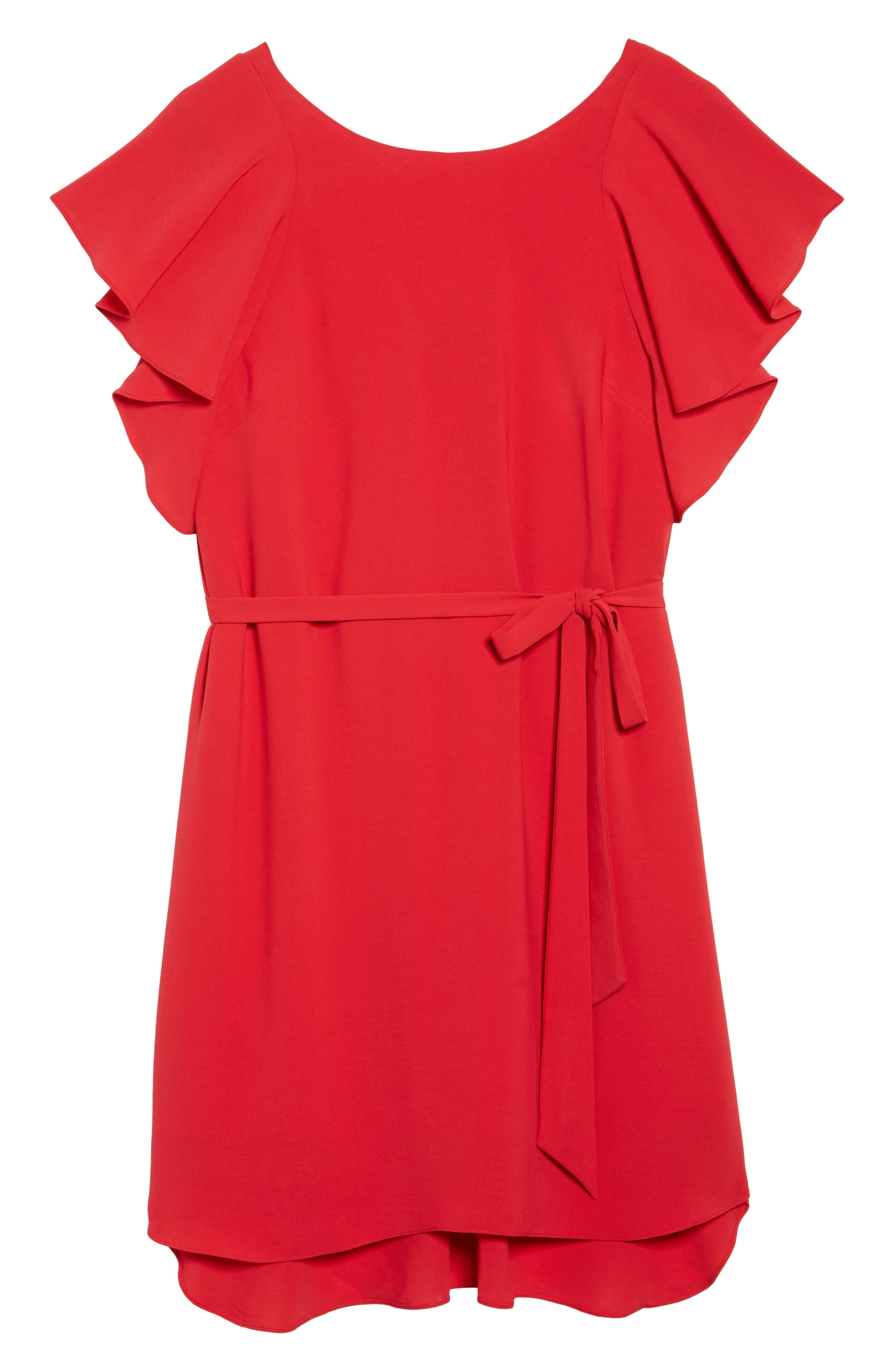 Crepe Flutter Sleeve Dress,                             Alternate thumbnail 6, color,                             Red Fire