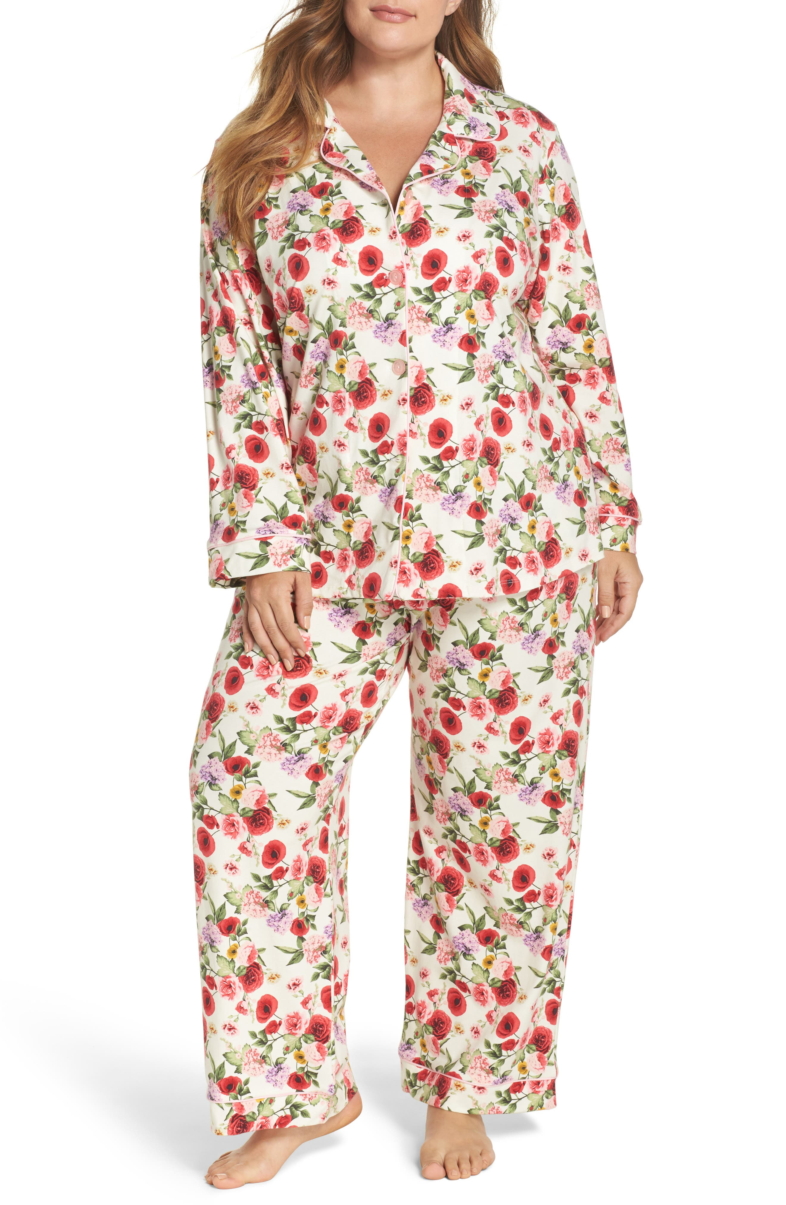 Flower Print Pajamas,                             Main thumbnail 1, color,                             Late Bloomers