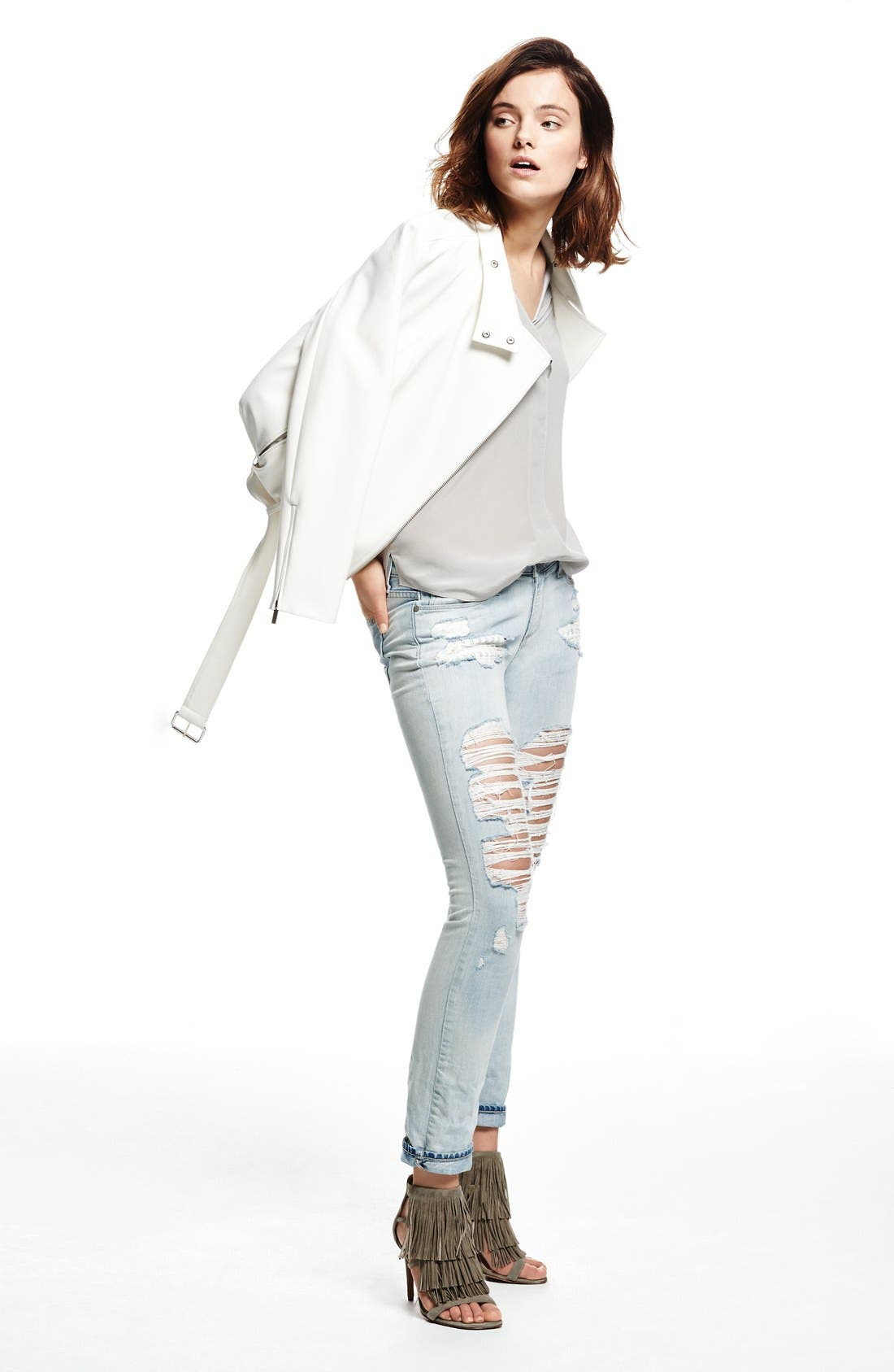 Oversize Moto Jacket,                             Alternate thumbnail 5, color,