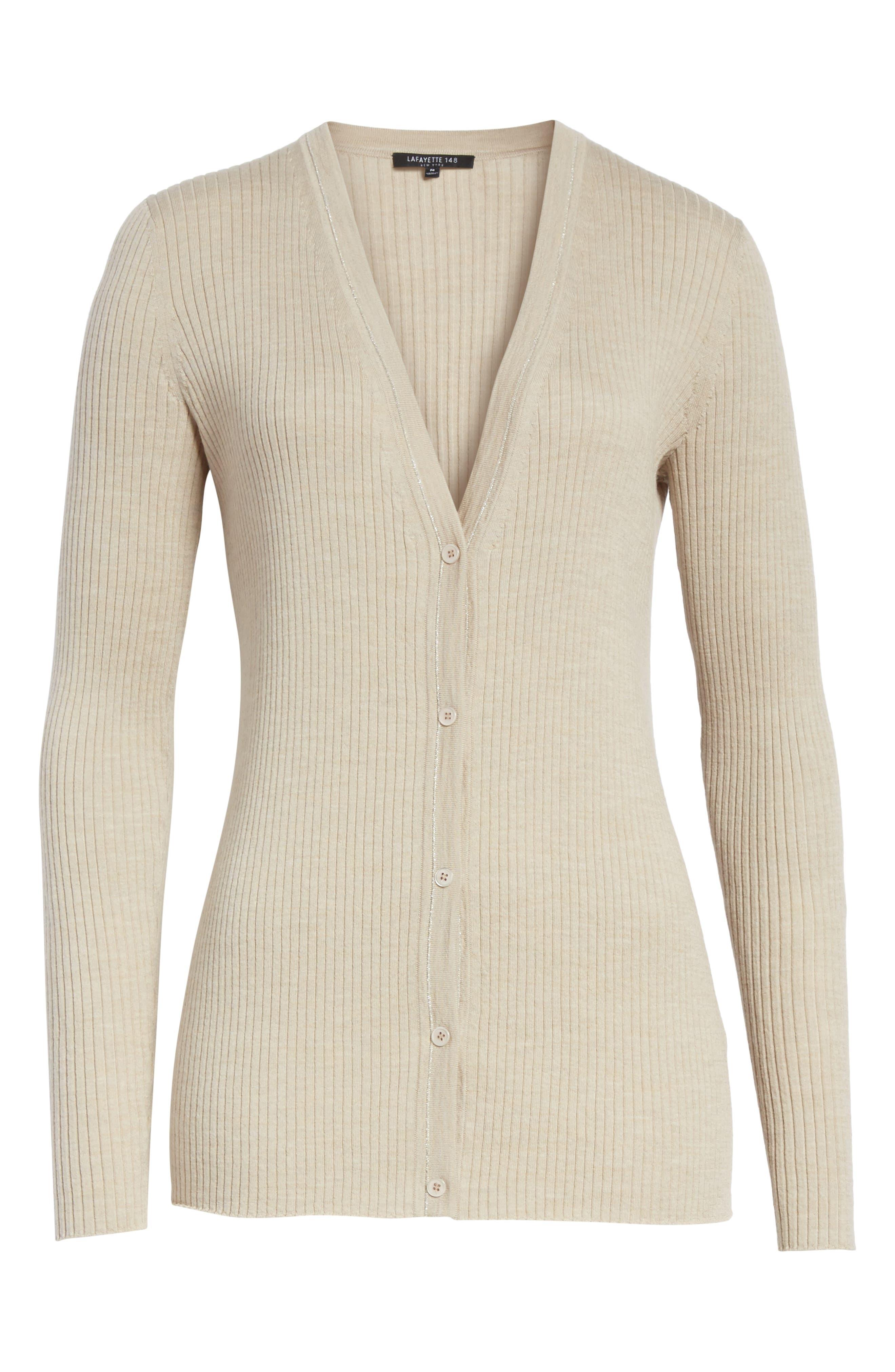 Metallic Wool Modern Ribbed Cardigan,                             Alternate thumbnail 7, color,                             Luxor Melange