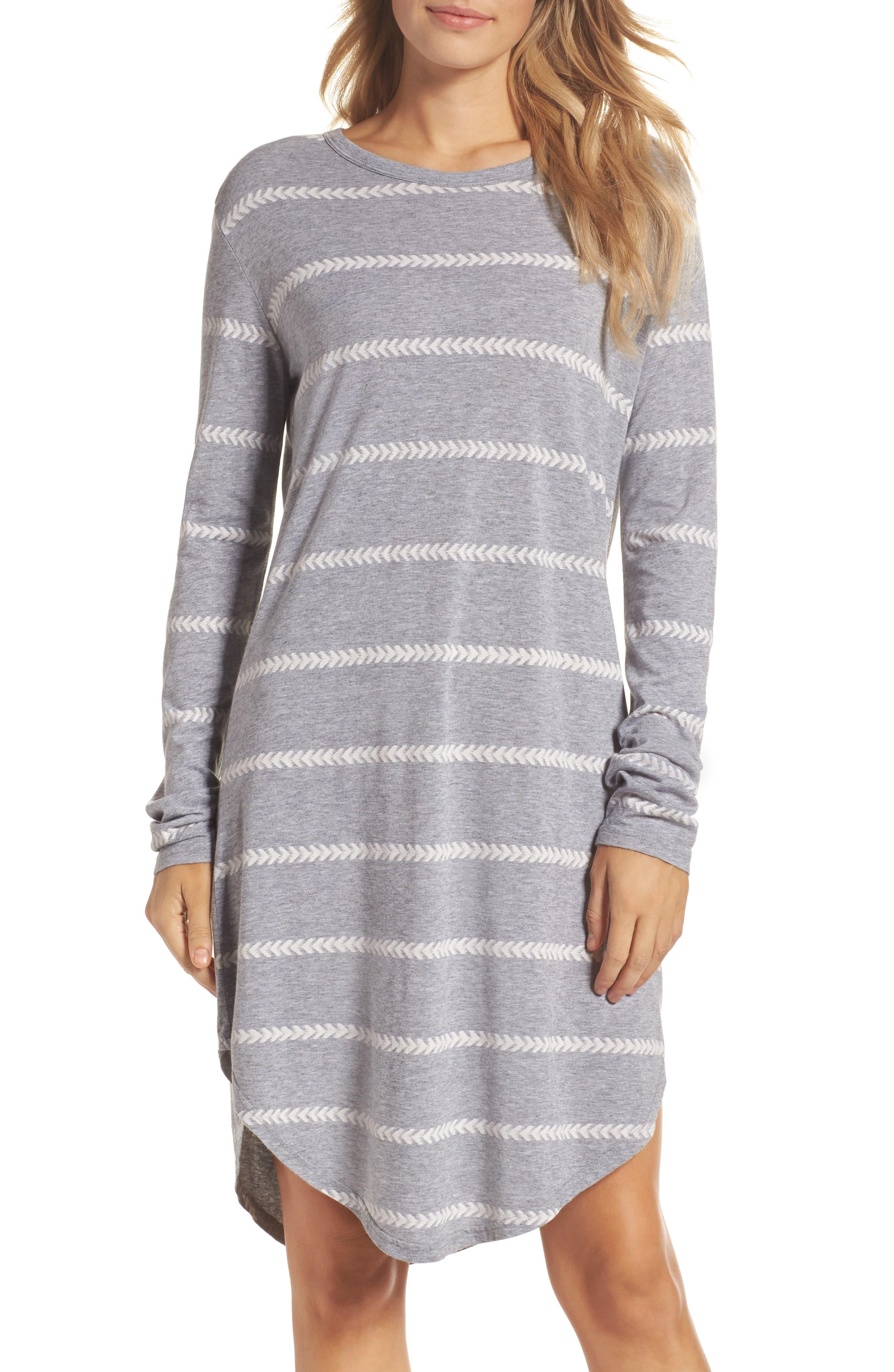 Wednesday Stripe Sleep Shirt,                         Main,                         color, Chevron Stripe Grey