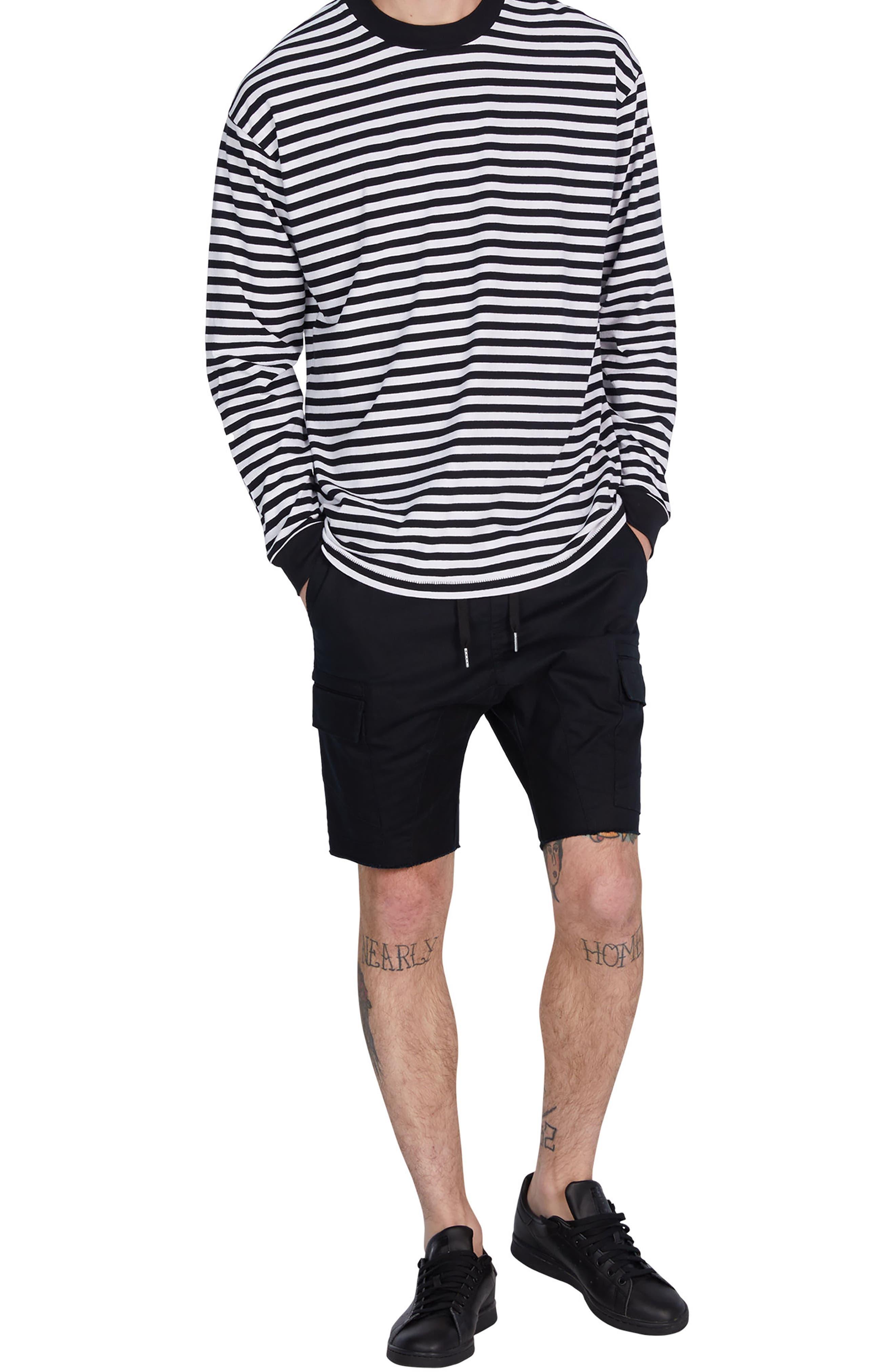 Stripe Box T-Shirt,                             Alternate thumbnail 5, color,                             Black/ White