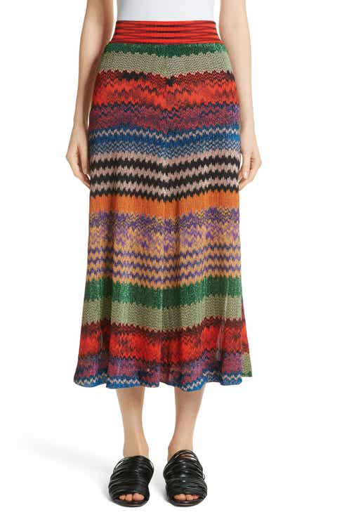 Missoni Metallic Stripe Knit Midi Skirt