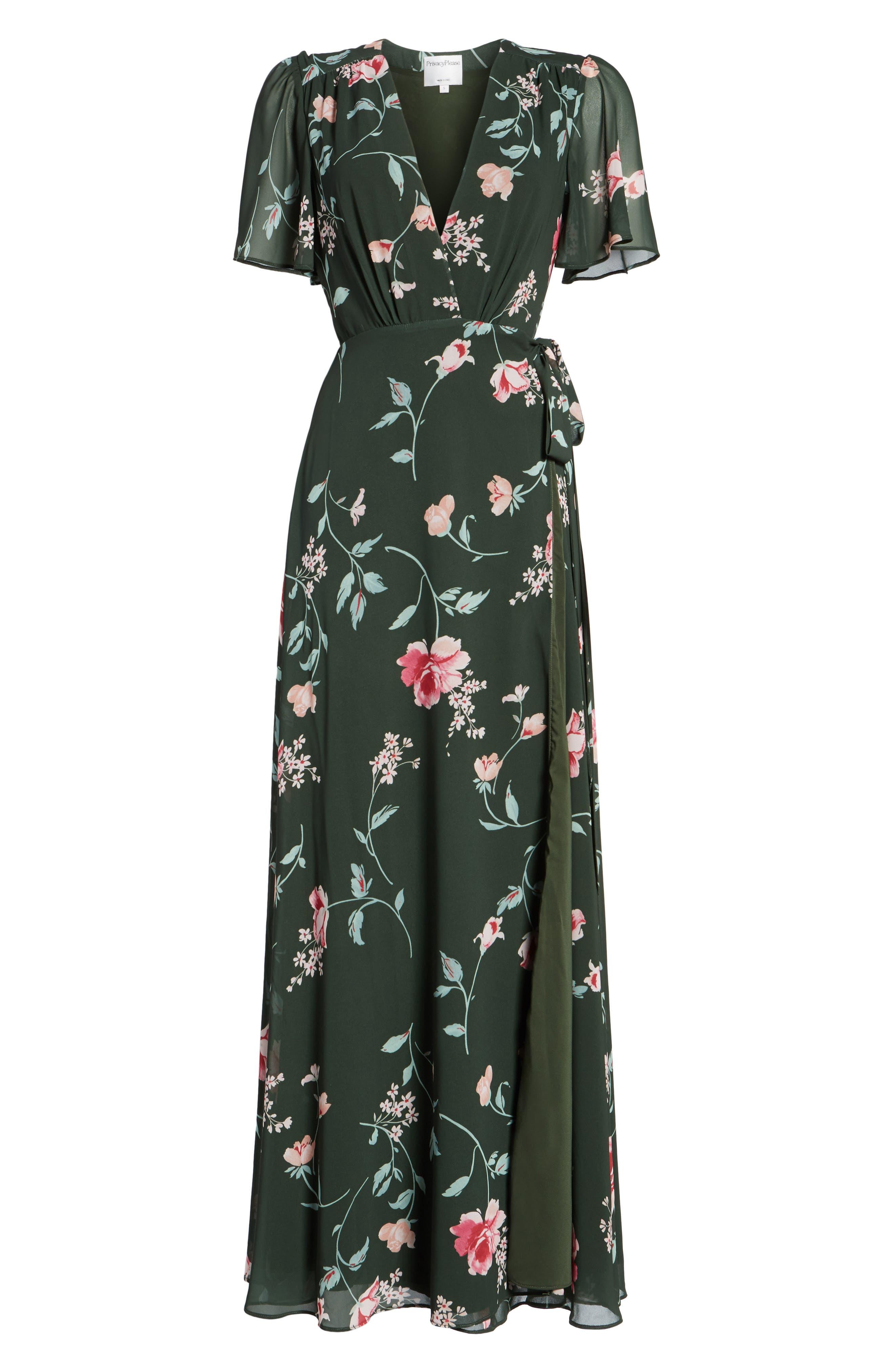 Plaza Kimono Maxi Dress,                             Alternate thumbnail 6, color,                             Evergreen Floral