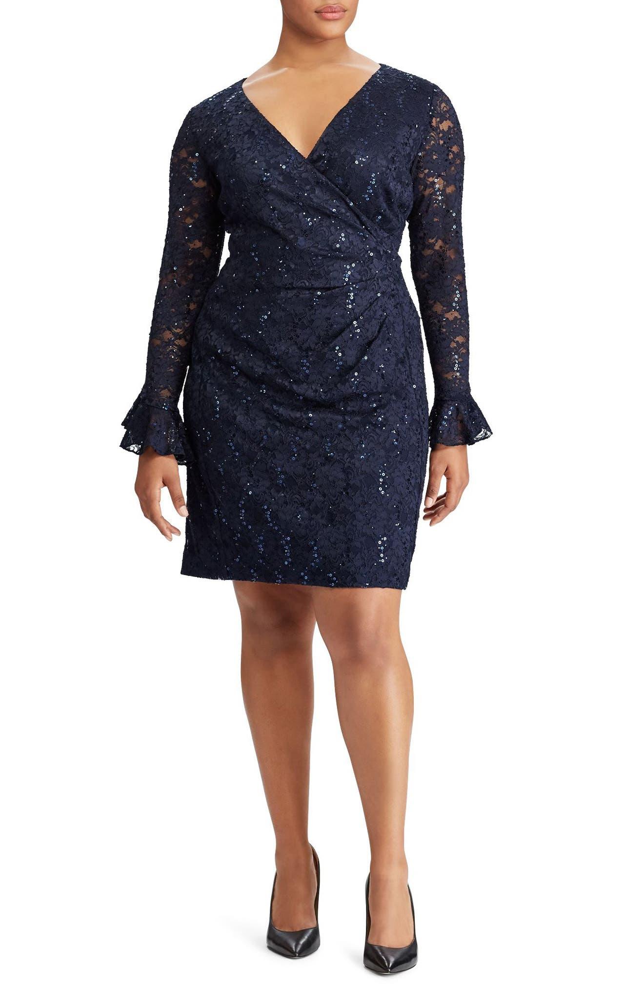 Agnes Lace & Sequin Dress,                             Main thumbnail 1, color,                             Light Navy/ Navy Sequin