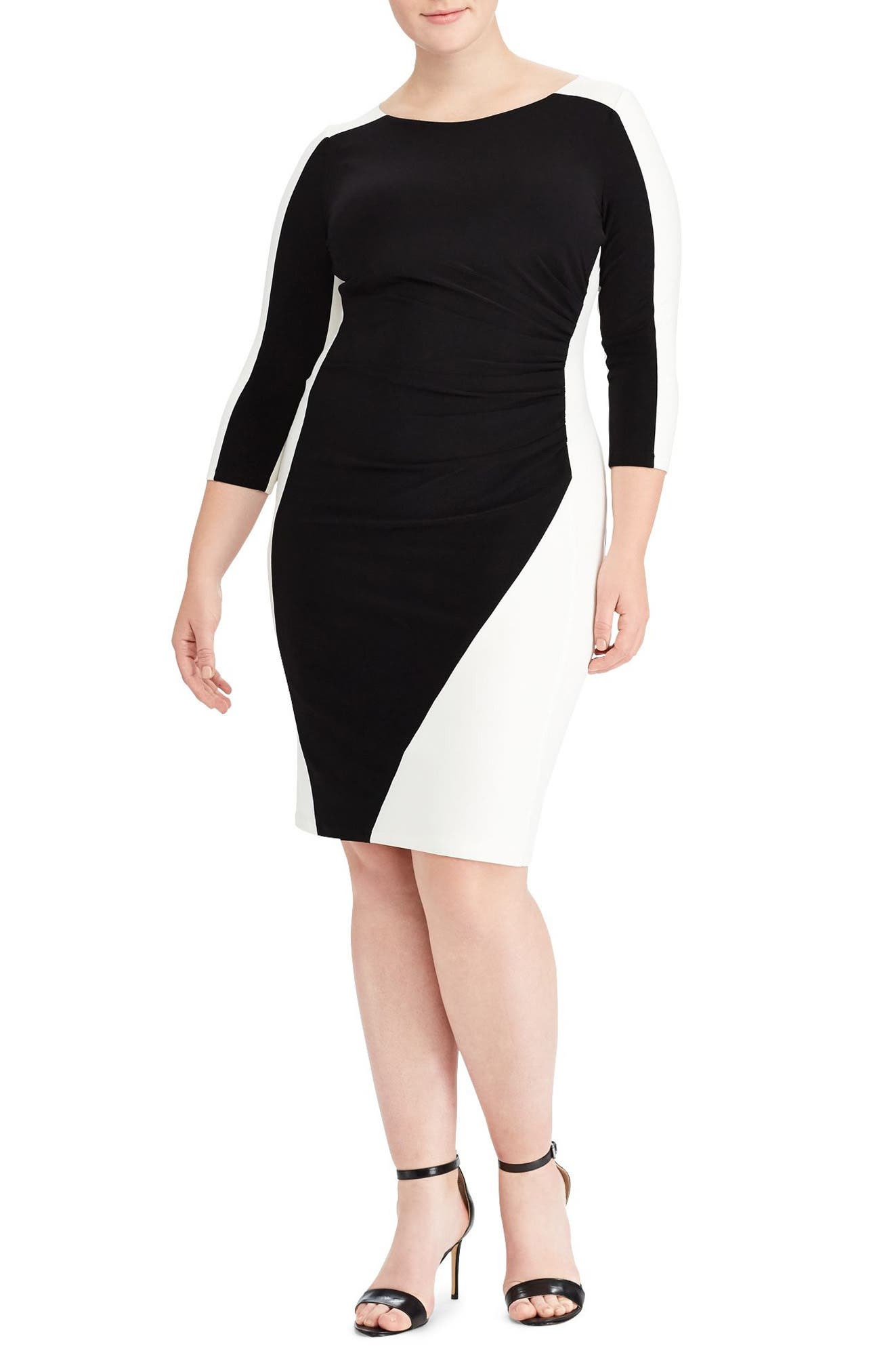 Two-Tone Ruched Jersey Dress,                             Main thumbnail 1, color,                             Black/ Lauren White