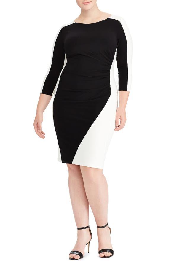 Lauren Ralph Lauren Two Tone Ruched Jersey Dress Plus Size Nordstrom