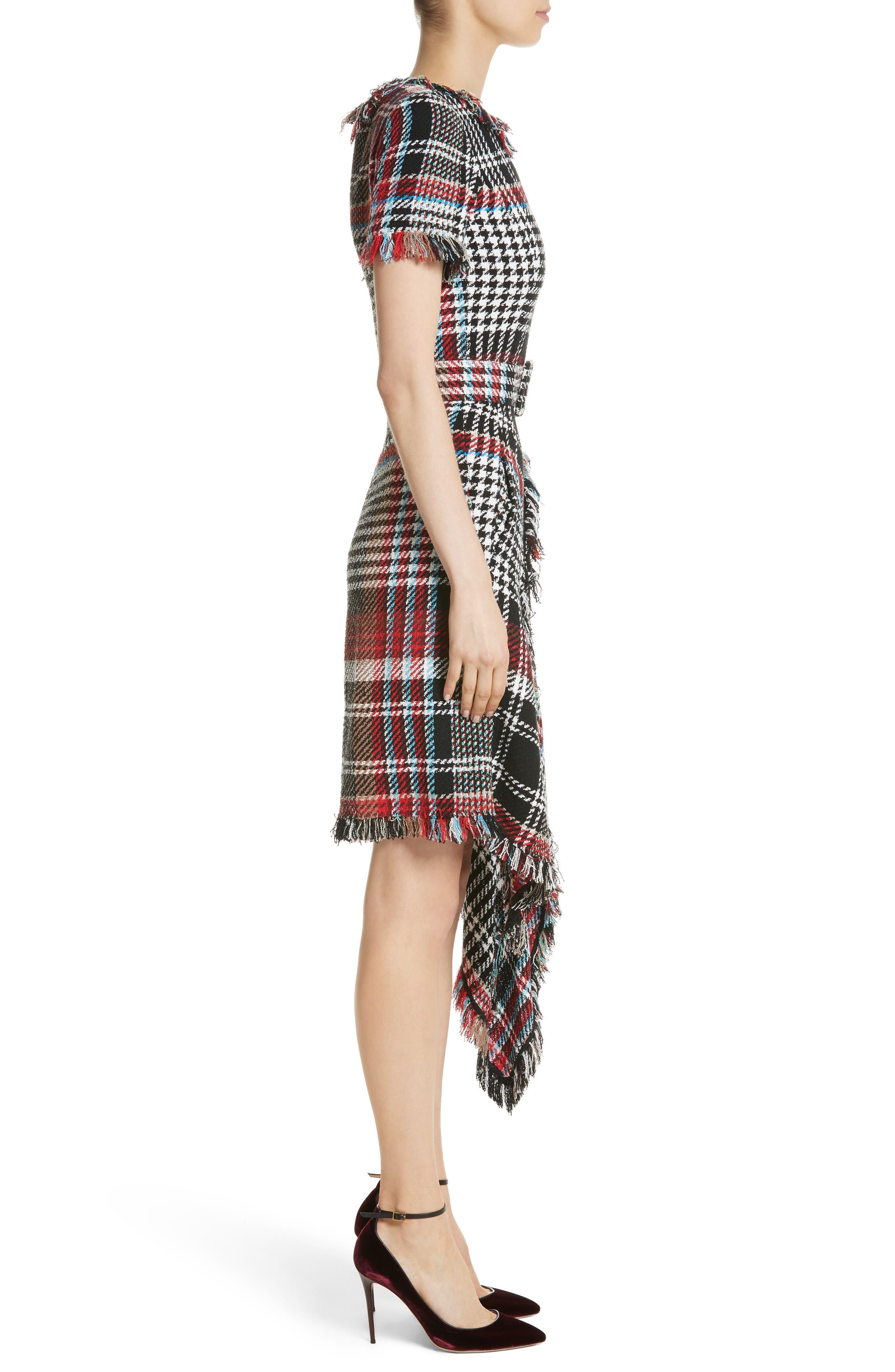 Alternate Image 3  - Oscar de la Renta Plaid Asymmetrical Dress