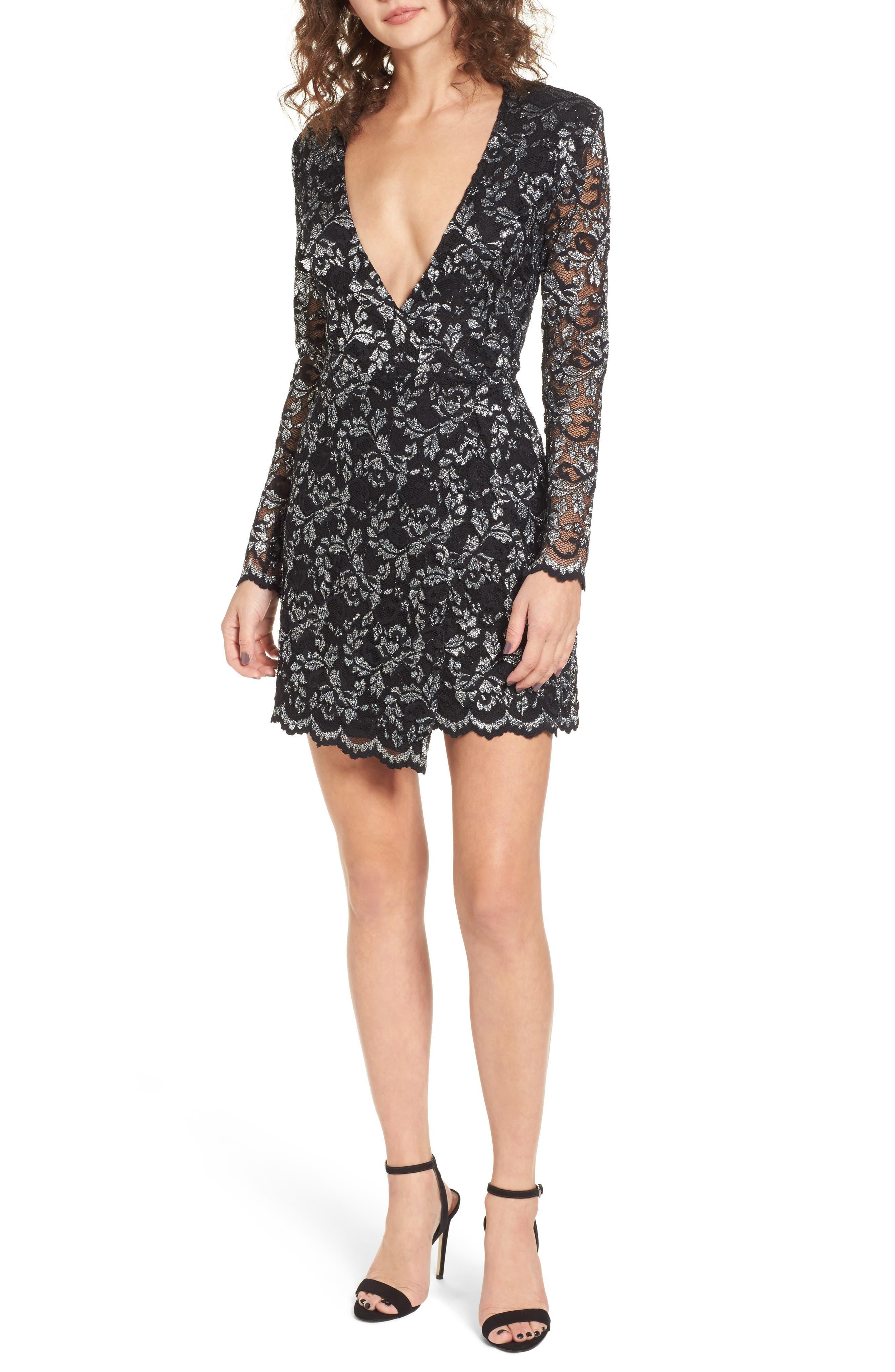 Laney Metallic Lace Wrap Dress,                         Main,                         color, Black/ Silver