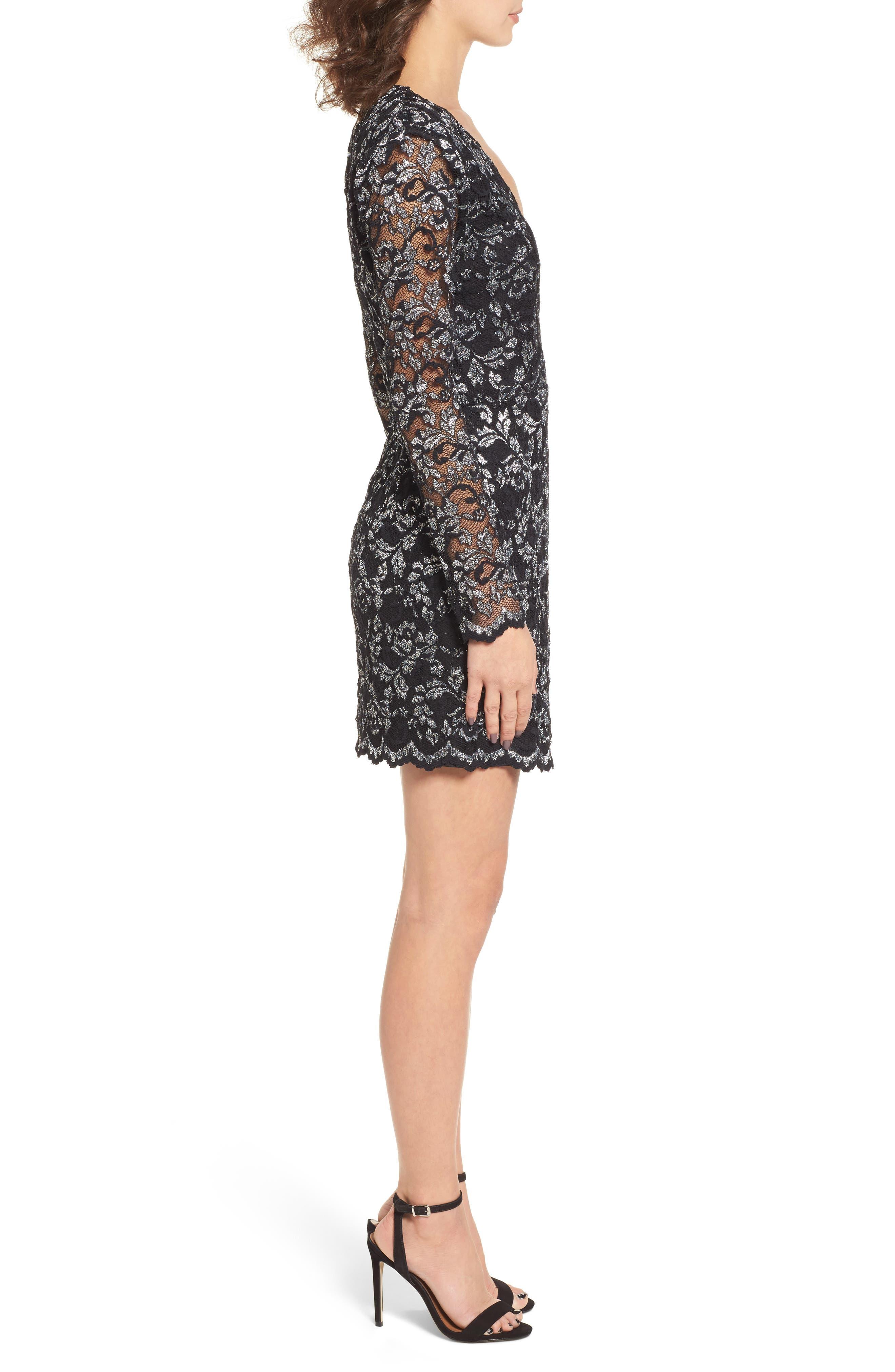 Laney Metallic Lace Wrap Dress,                             Alternate thumbnail 3, color,                             Black/ Silver