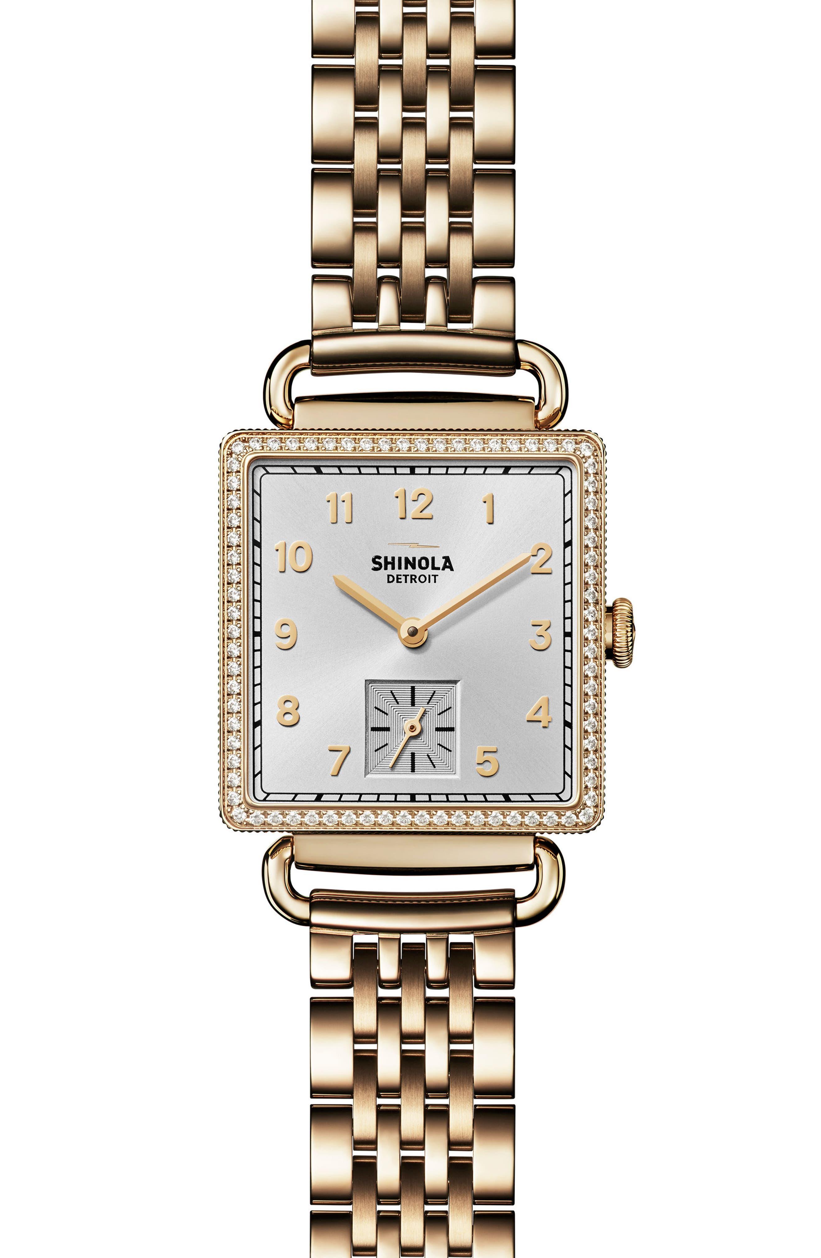 Cass Diamond Bracelet Watch, 28mm x 27mm,                             Main thumbnail 1, color,                             Gold/ Silver/ Gold