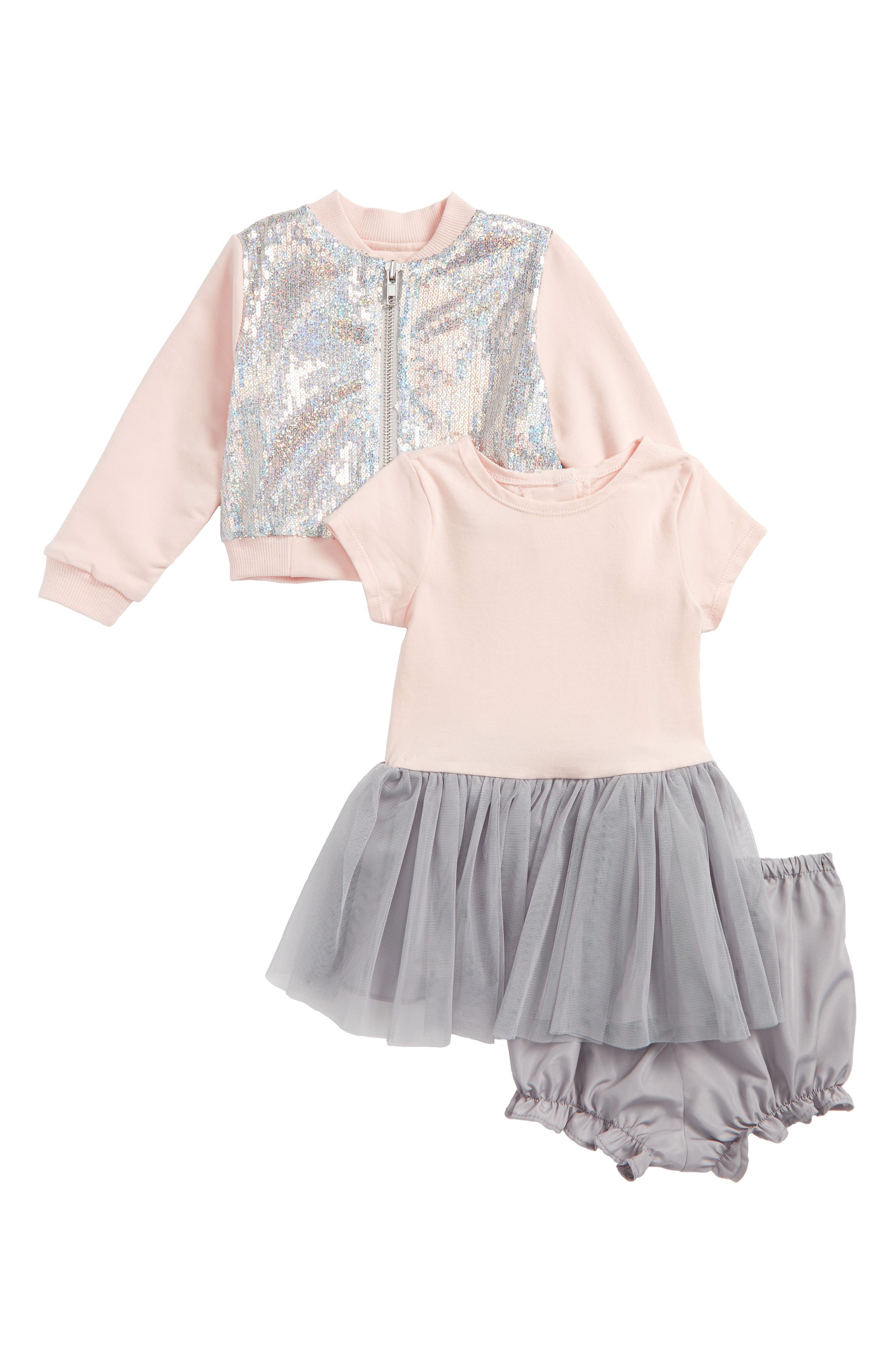 Sequin Bomber Jacket & Tulle Dress Set,                             Main thumbnail 1, color,                             Silver/ Pink