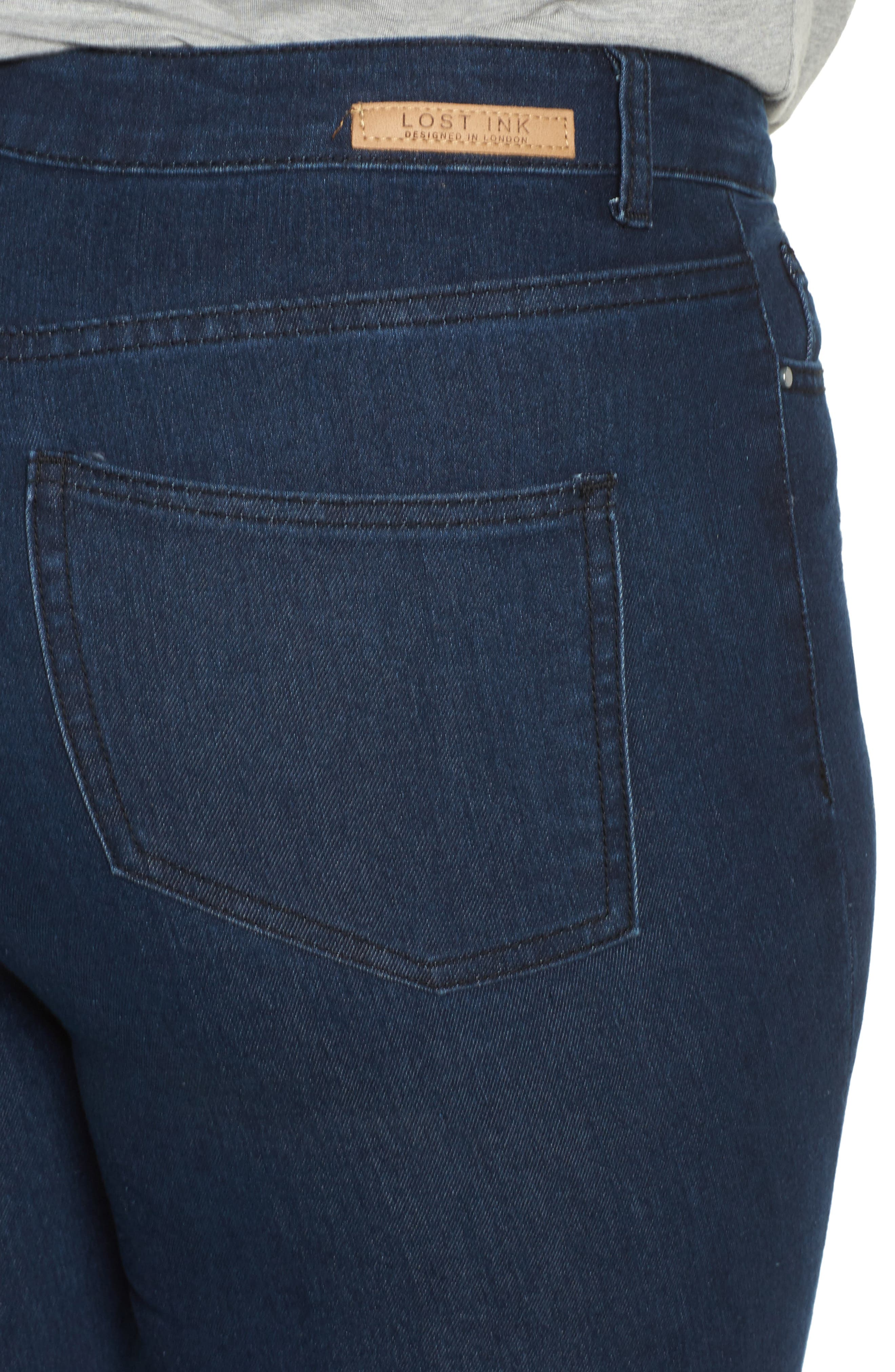 Alternate Image 4  - LOST INK Super High-Waist Skinny Ankle Jeans (Plus Size)