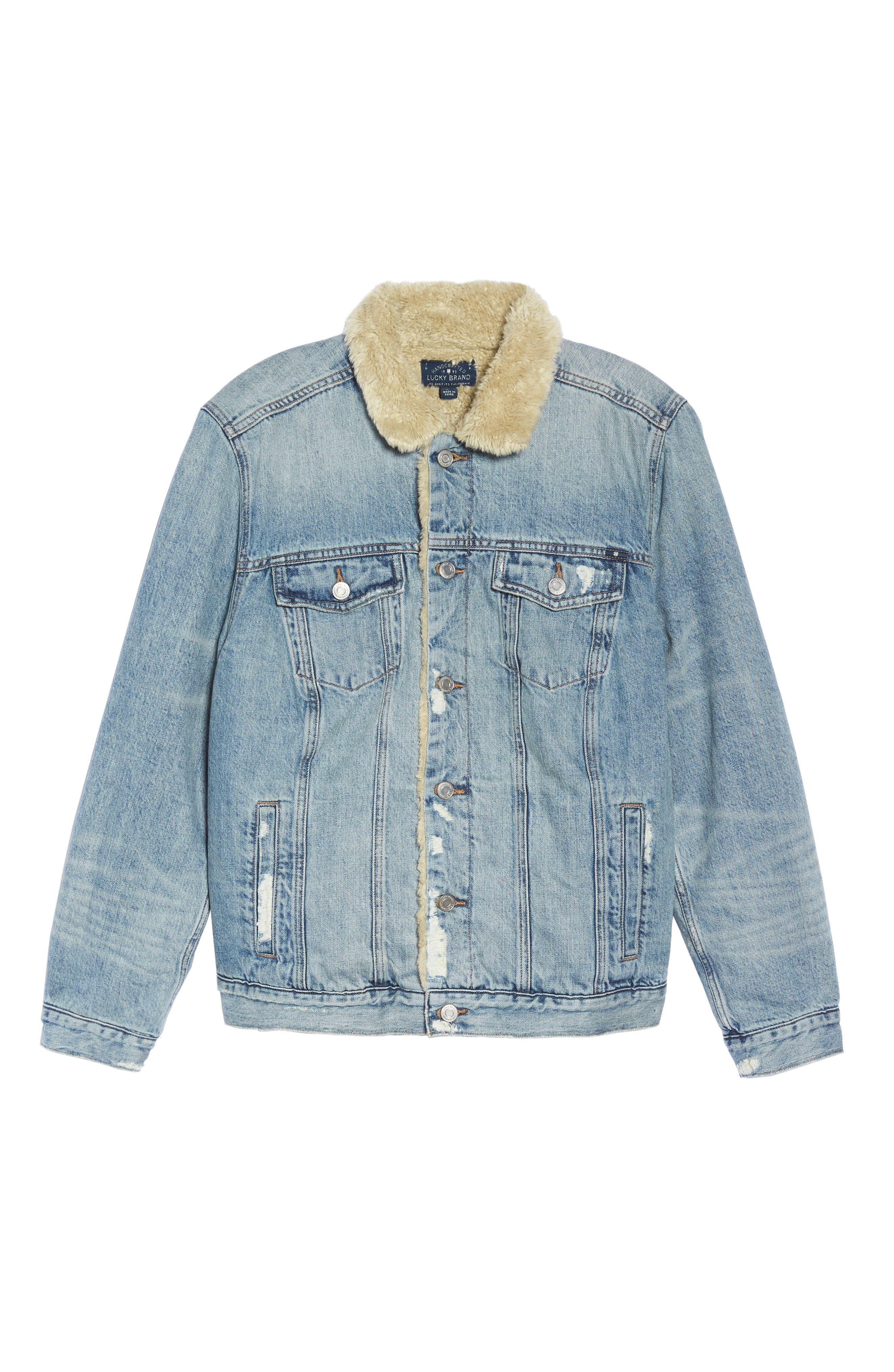 Alternate Image 6  - Lucky Brand Faux Fur Collar Trucker Jacket (Wellton) (Plus Size)