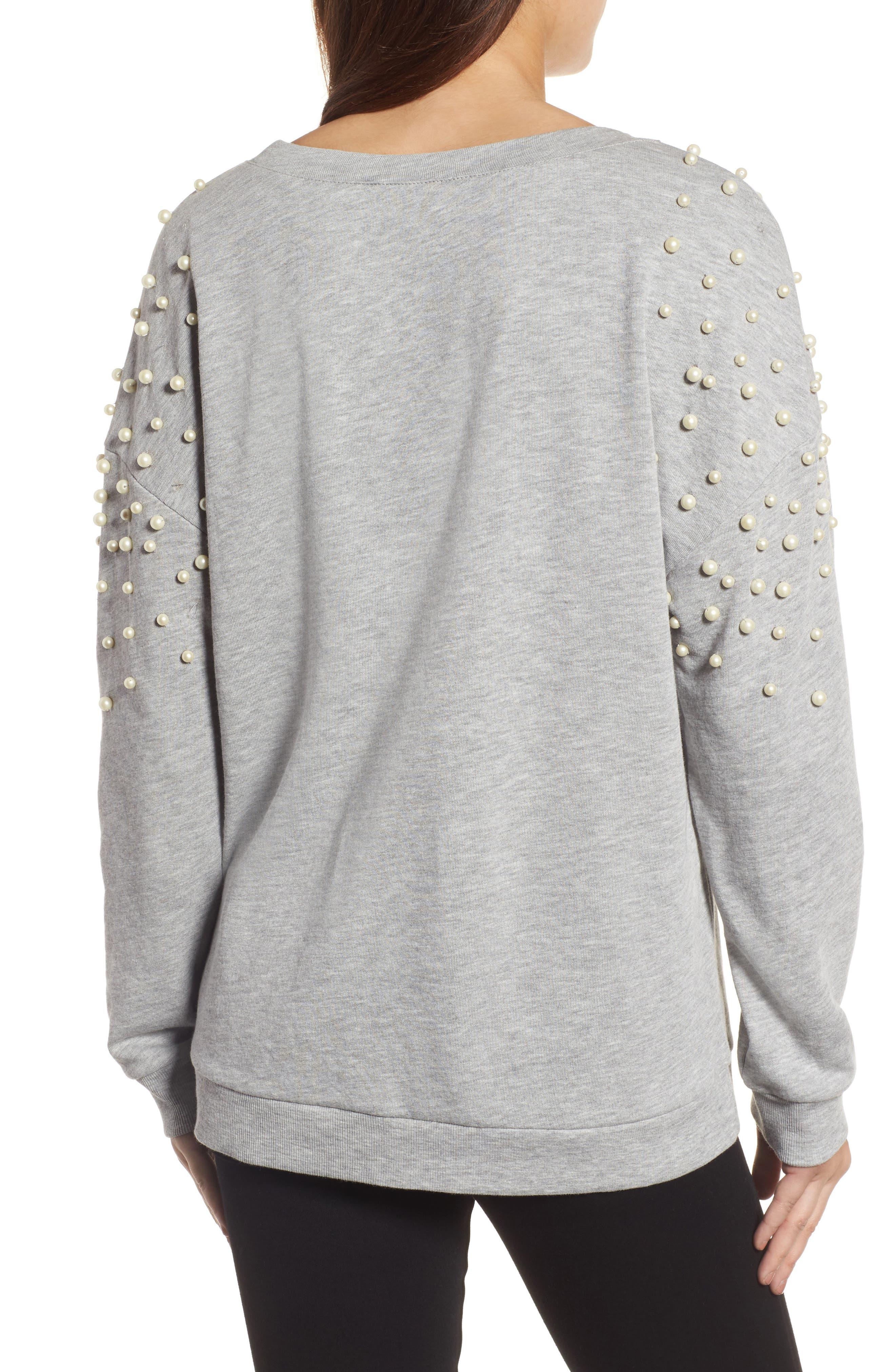 Alternate Image 2  - Halogen® Beaded Sweatshirt (Regular & Petite)