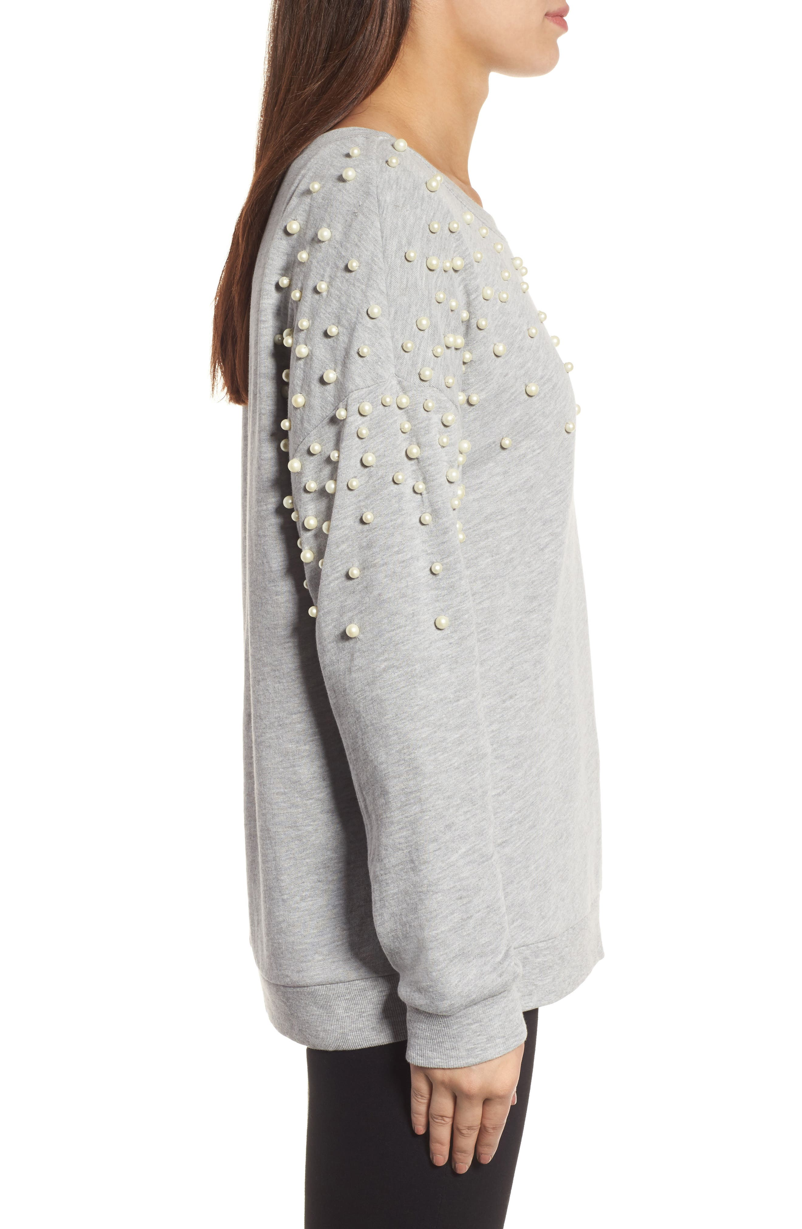 Alternate Image 3  - Halogen® Beaded Sweatshirt (Regular & Petite)