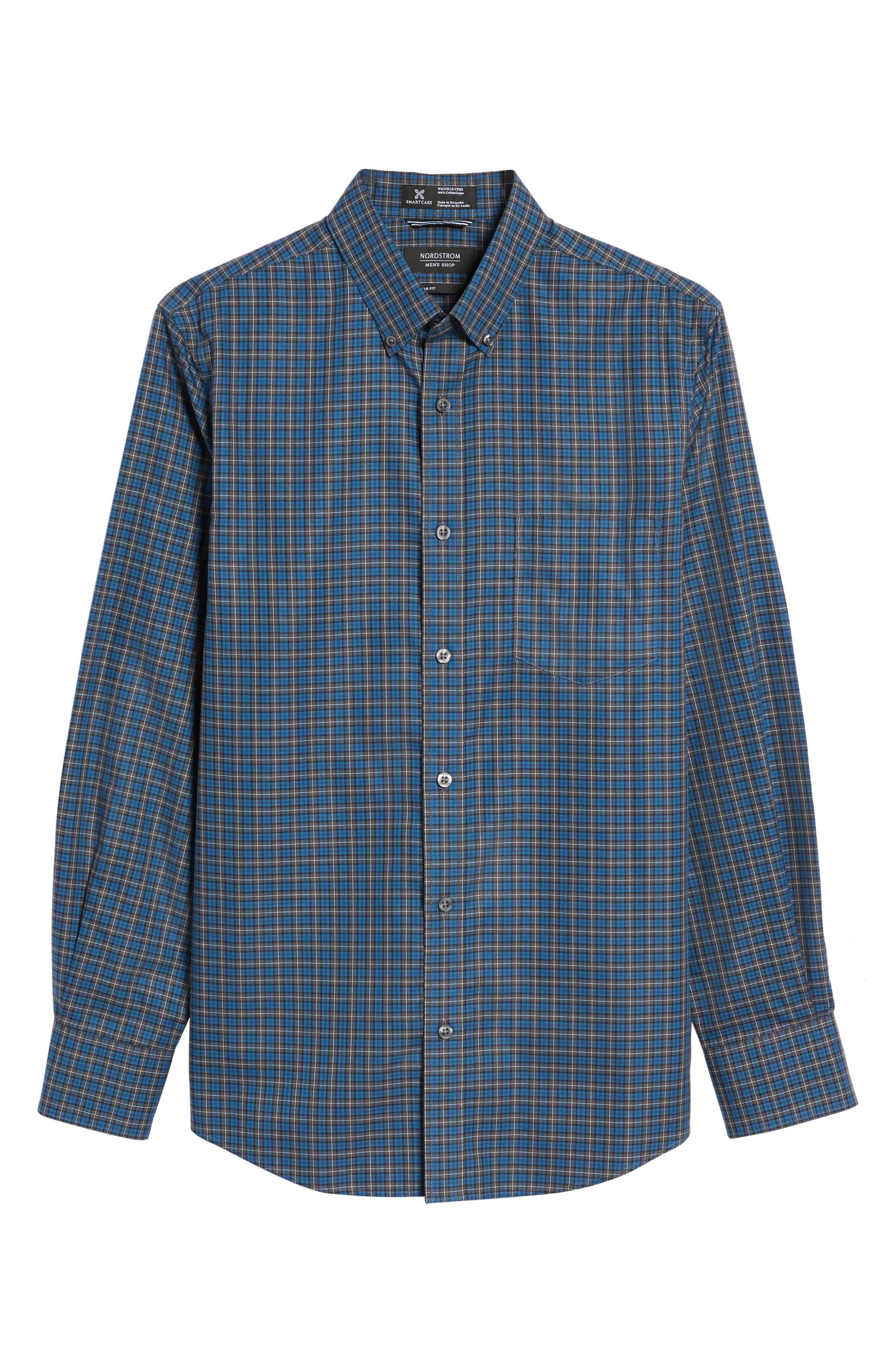 Alternate Image 6  - Nordstrom Men's Shop Smartcare™ Regular Fit Plaid Sport Shirt