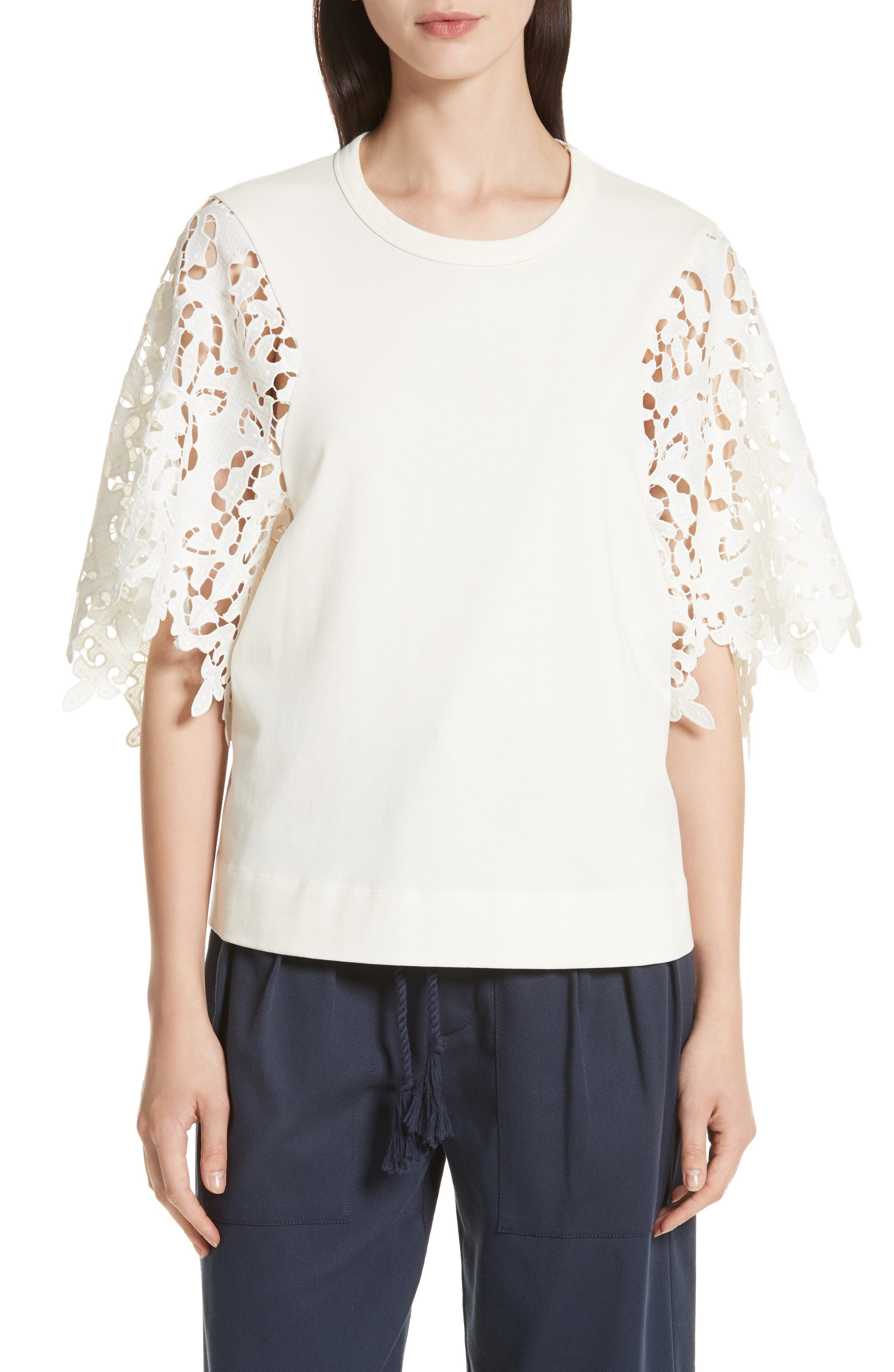 Lace Sleeve Top,                         Main,                         color, Ivory