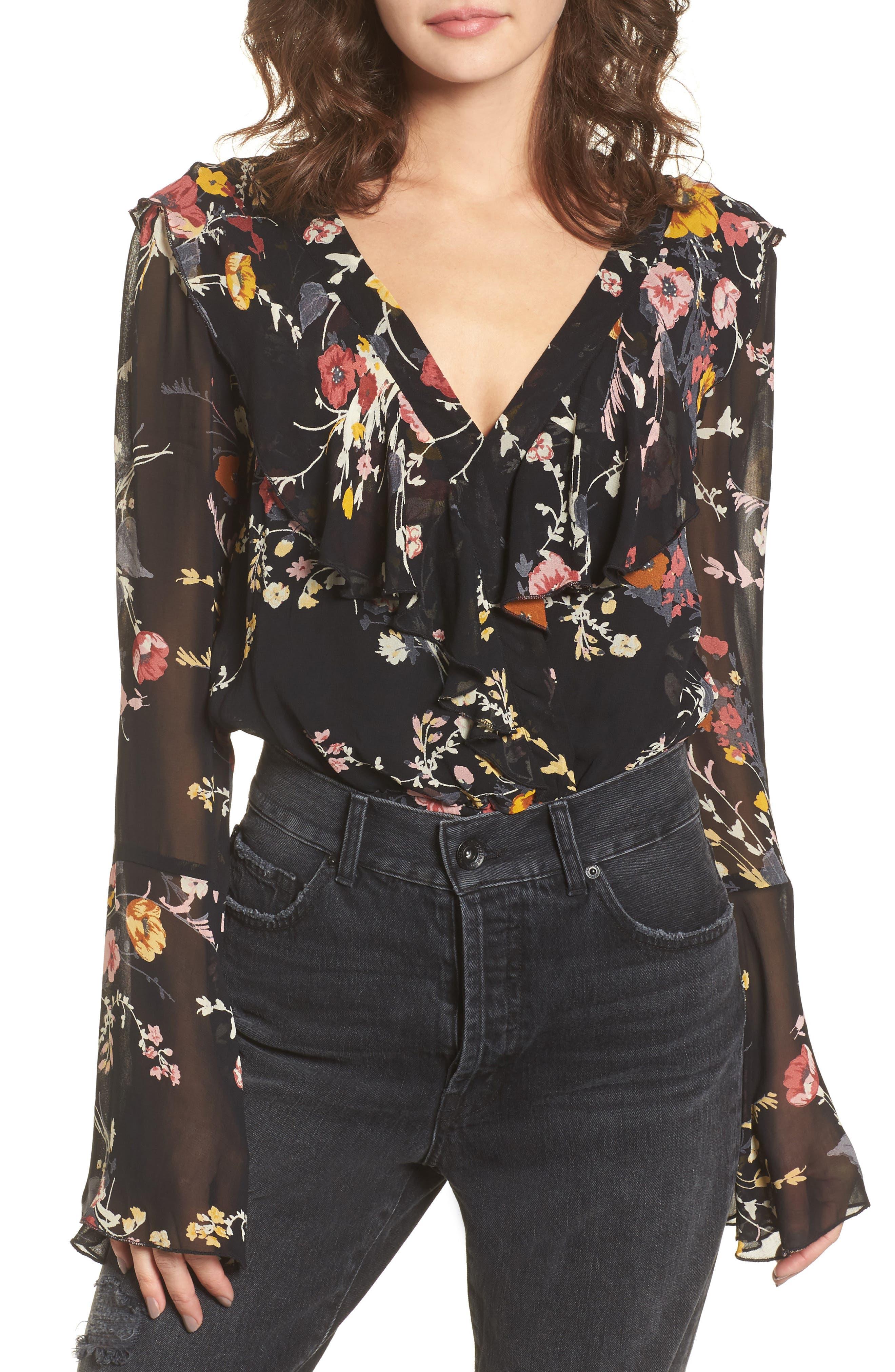Floral Ruffle Bodysuit,                             Main thumbnail 1, color,                             Black/ Mustard