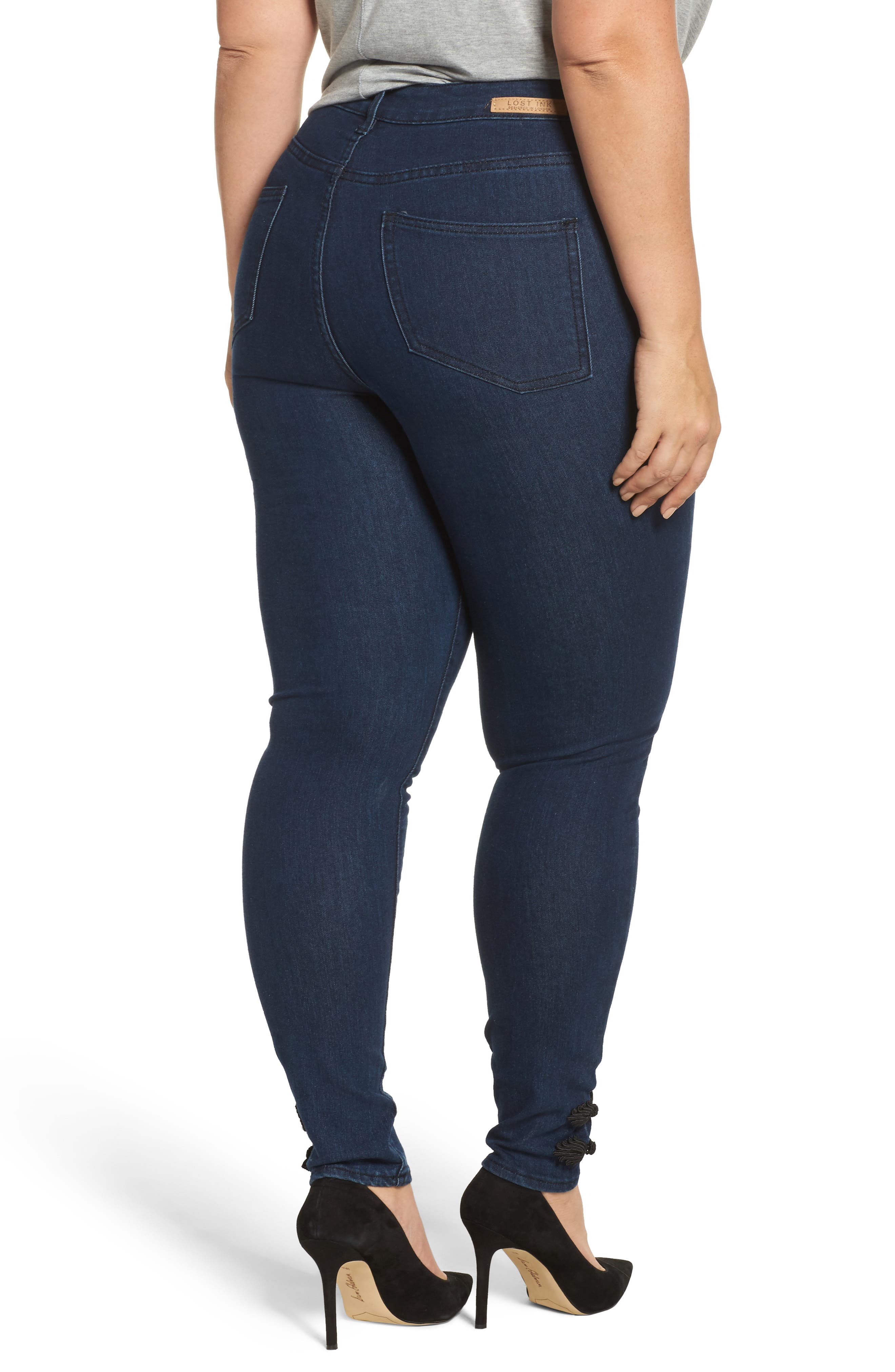 Alternate Image 2  - LOST INK Super High-Waist Skinny Ankle Jeans (Plus Size)
